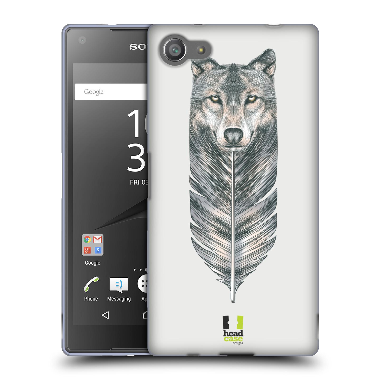 HEAD CASE silikonový obal na mobil Sony Xperia Z5 COMPACT vzor zvířecí pírka vlk