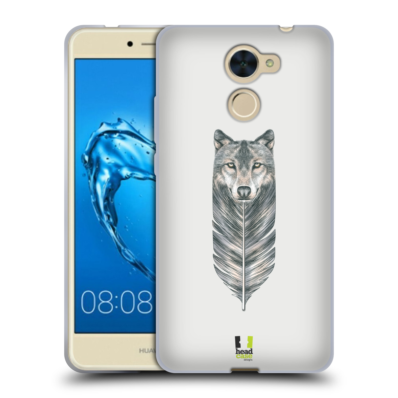HEAD CASE silikonový obal na mobil Huawei Y7 a Y7 Prime vzor zvířecí pírka  vlk a95e87ebabd