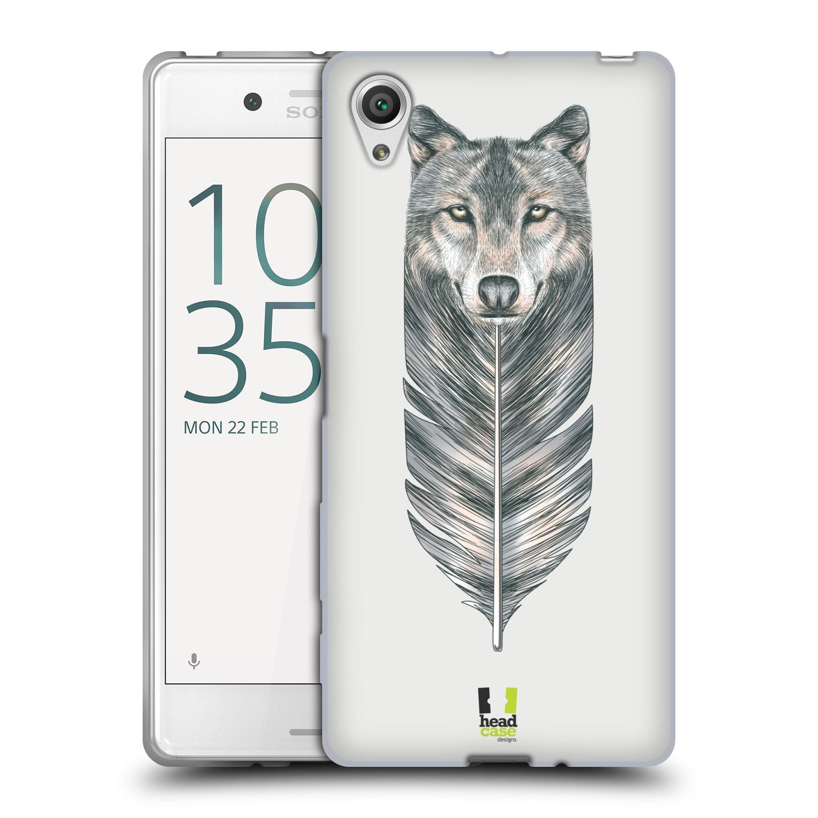 HEAD CASE silikonový obal na mobil Sony Xperia X / X DUAL vzor zvířecí pírka vlk