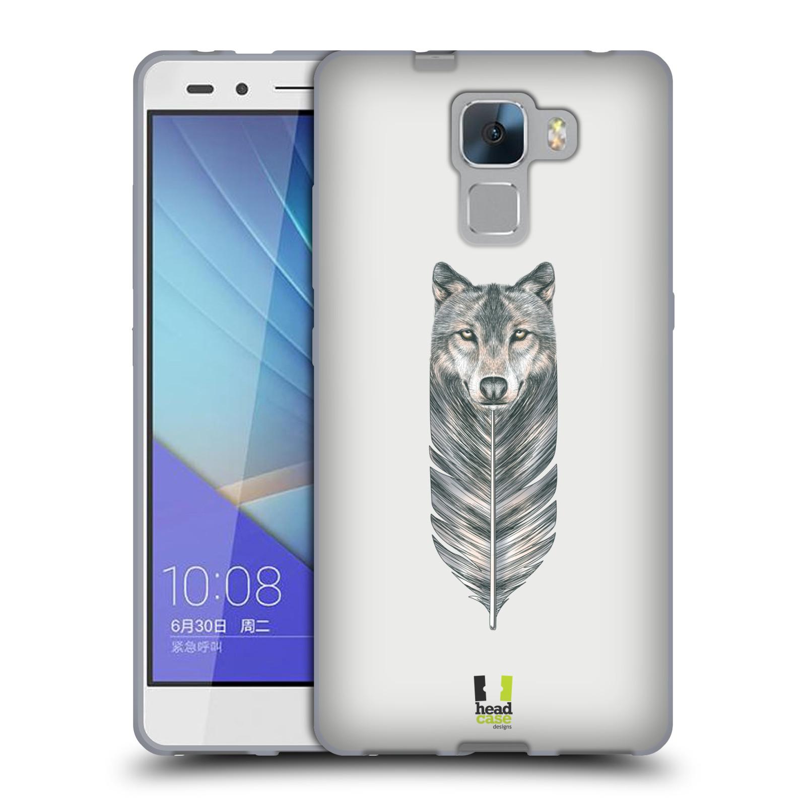 HEAD CASE silikonový obal na mobil HUAWEI HONOR 7 vzor zvířecí pírka vlk