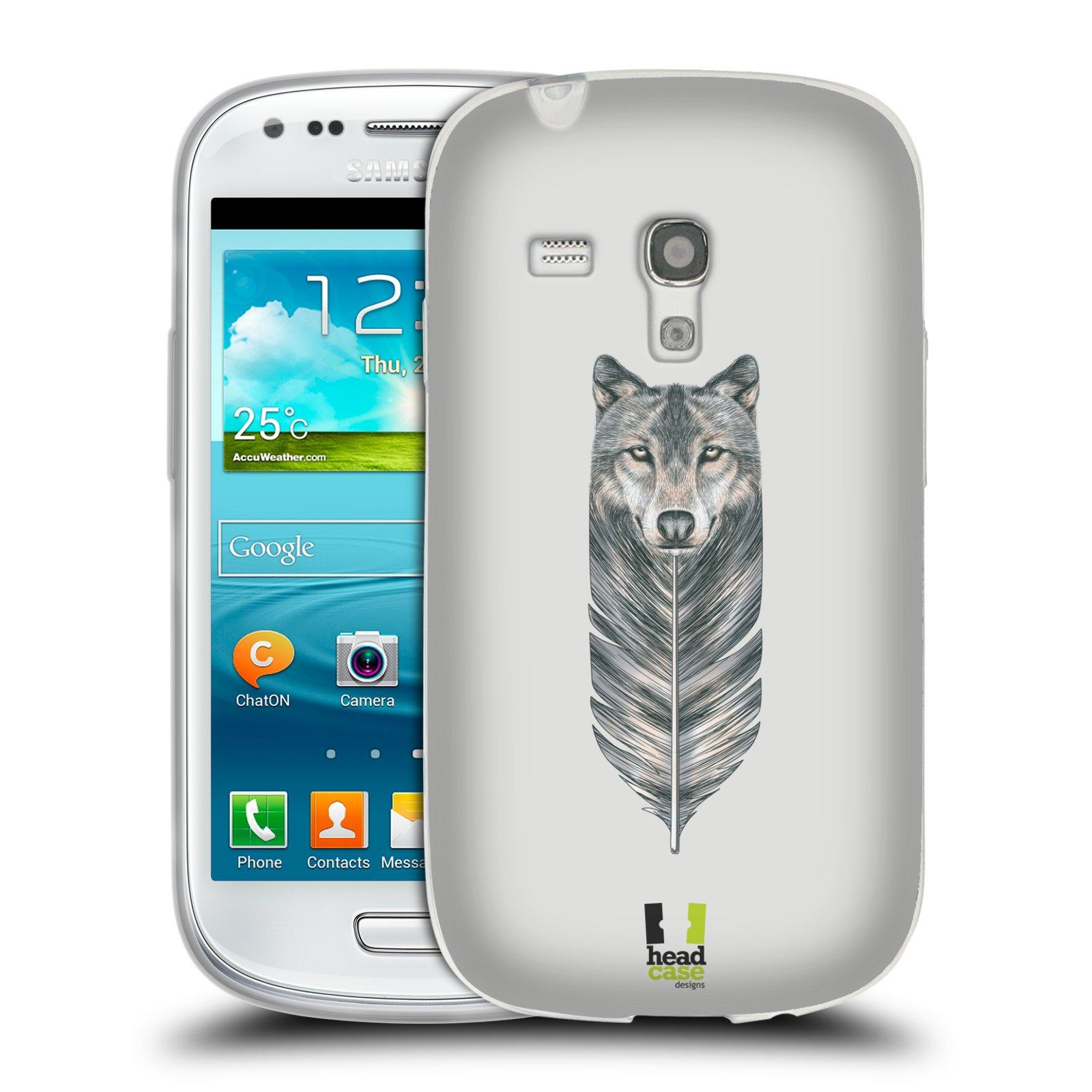 HEAD CASE silikonový obal na mobil Samsung Galaxy S3 MINI i8190 vzor zvířecí pírka vlk