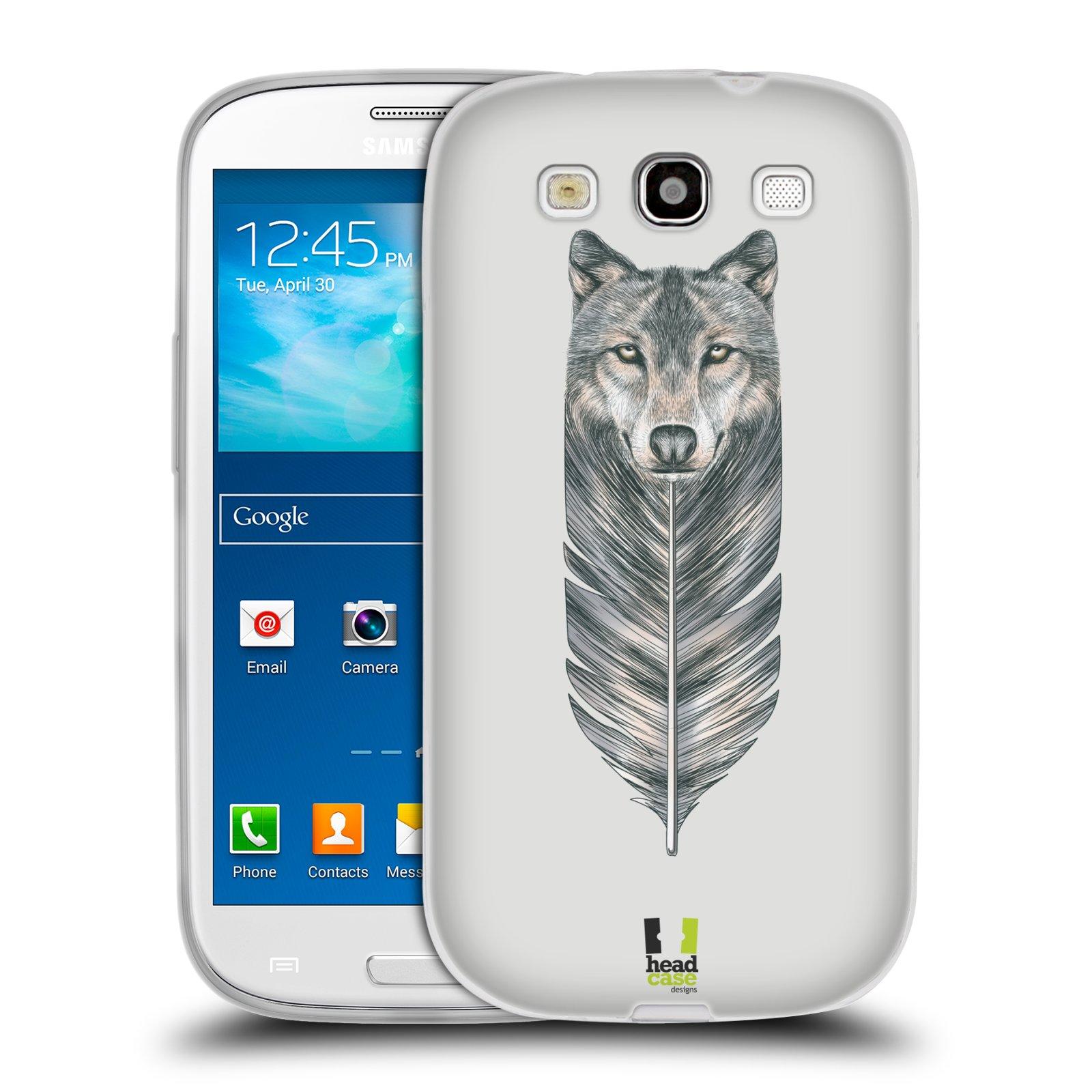 HEAD CASE silikonový obal na mobil Samsung Galaxy S3 i9300 vzor zvířecí pírka vlk