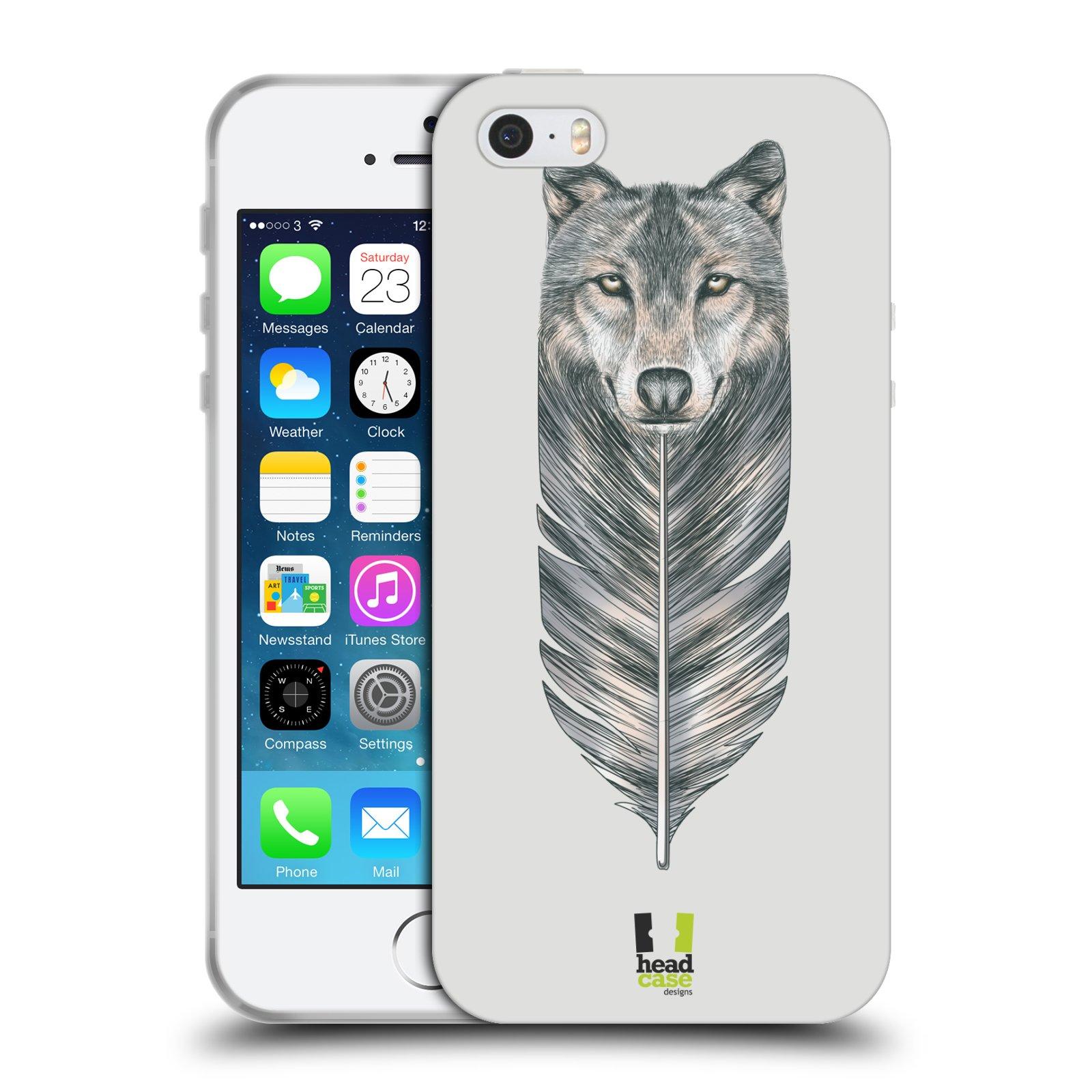 HEAD CASE silikonový obal na mobil Apple Iphone SE vzor zvířecí pírka vlk 307ff359d31