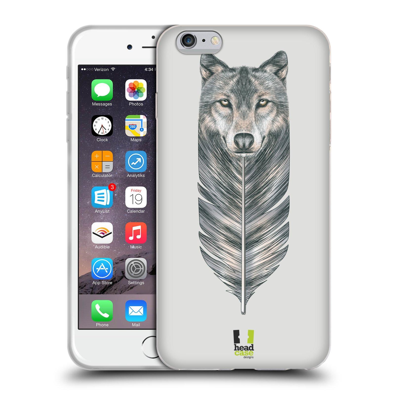 HEAD CASE silikonový obal na mobil Apple Iphone 6 PLUS  6S PLUS vzor  zvířecí pírka vlk 7995120acf5