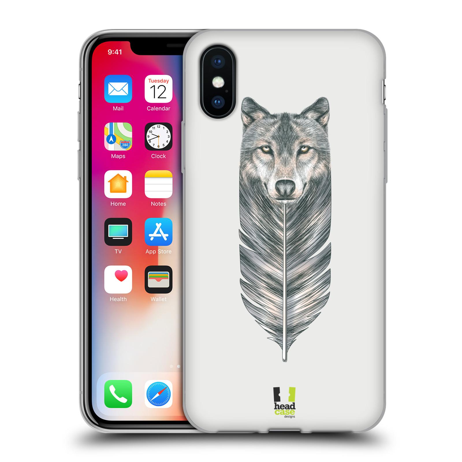 HEAD CASE silikonový obal na mobil Apple Iphone X vzor zvířecí pírka vlk ee3f7c80148