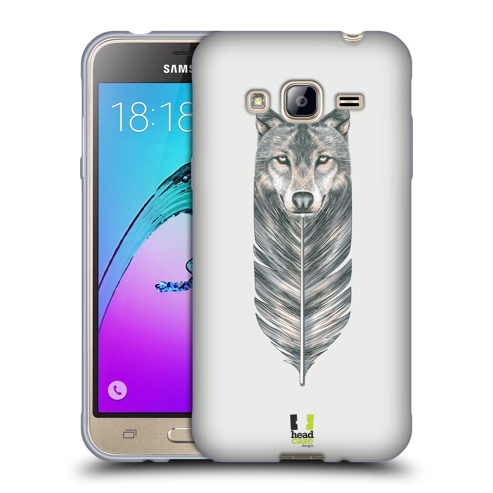 HEAD CASE silikonový obal na mobil Samsung Galaxy J3, J3 2016 vzor zvířecí pírka vlk
