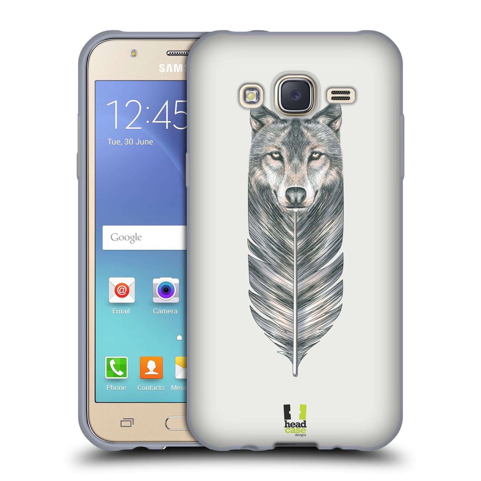 HEAD CASE silikonový obal na mobil Samsung Galaxy J5, J500, (J5 DUOS) vzor zvířecí pírka vlk