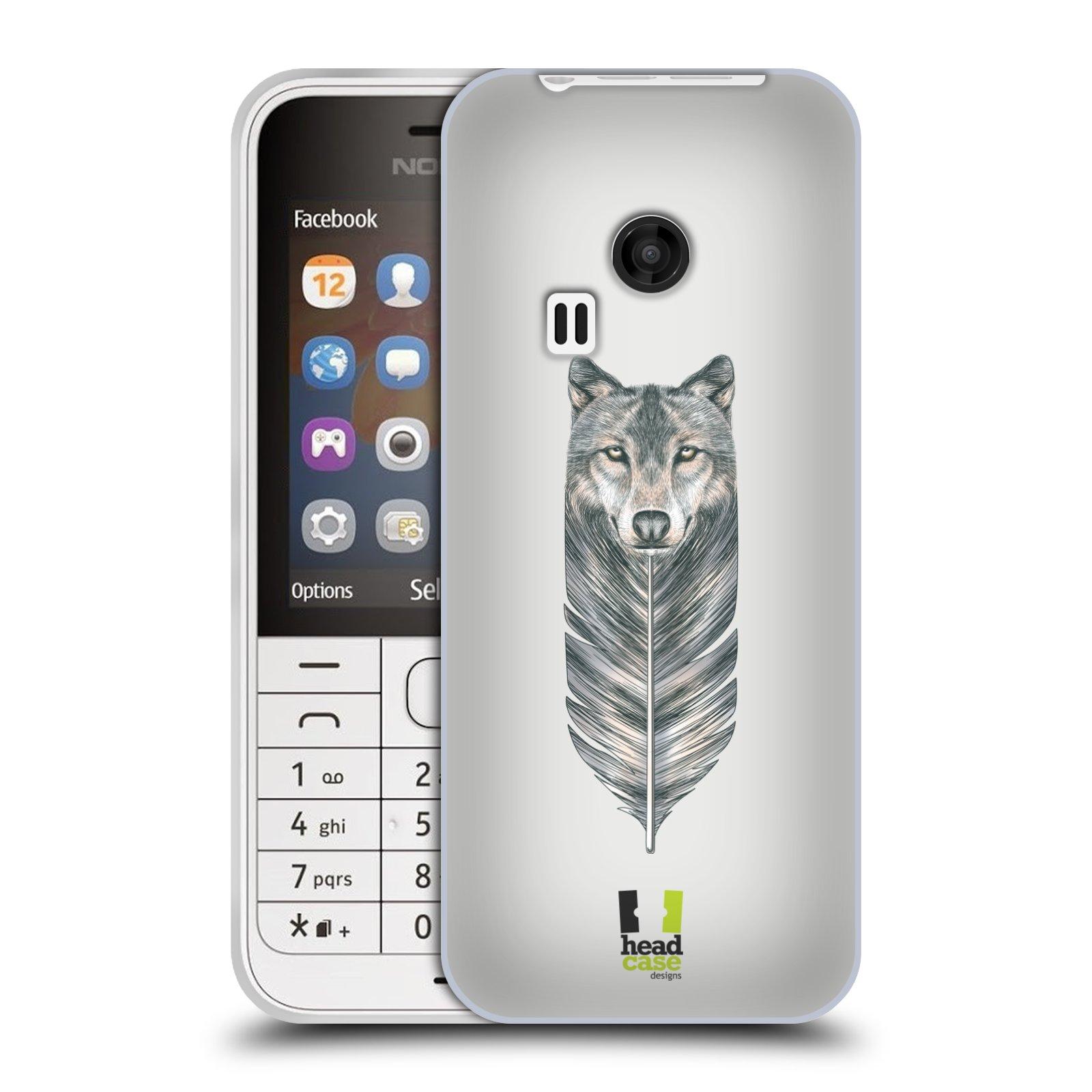 HEAD CASE silikonový obal na mobil NOKIA 220 / NOKIA 220 DUAL SIM vzor zvířecí pírka vlk