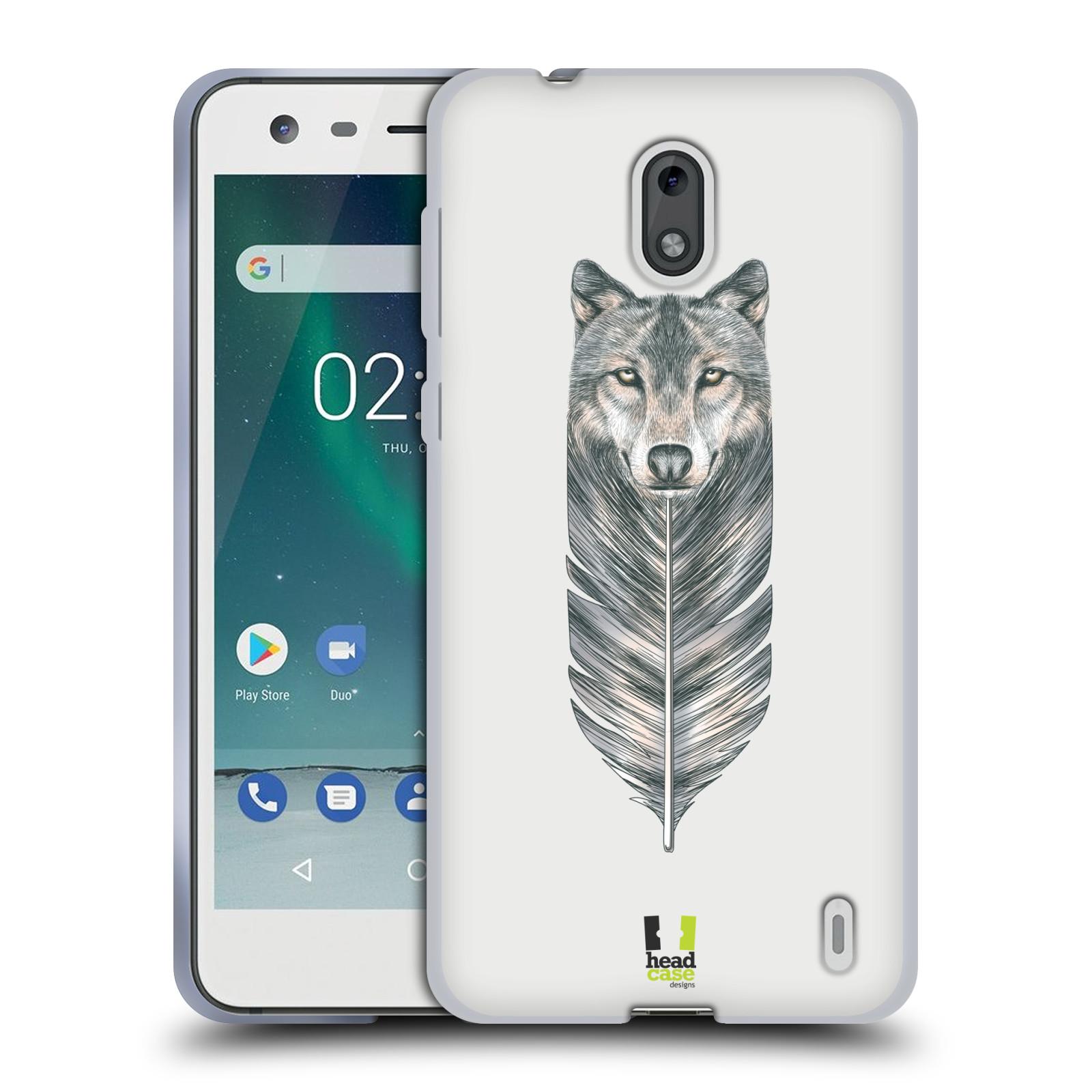 HEAD CASE silikonový obal na mobil NOKIA 2   NOKIA 2 DUAL SIM vzor zvířecí pírka  vlk 85042b78043
