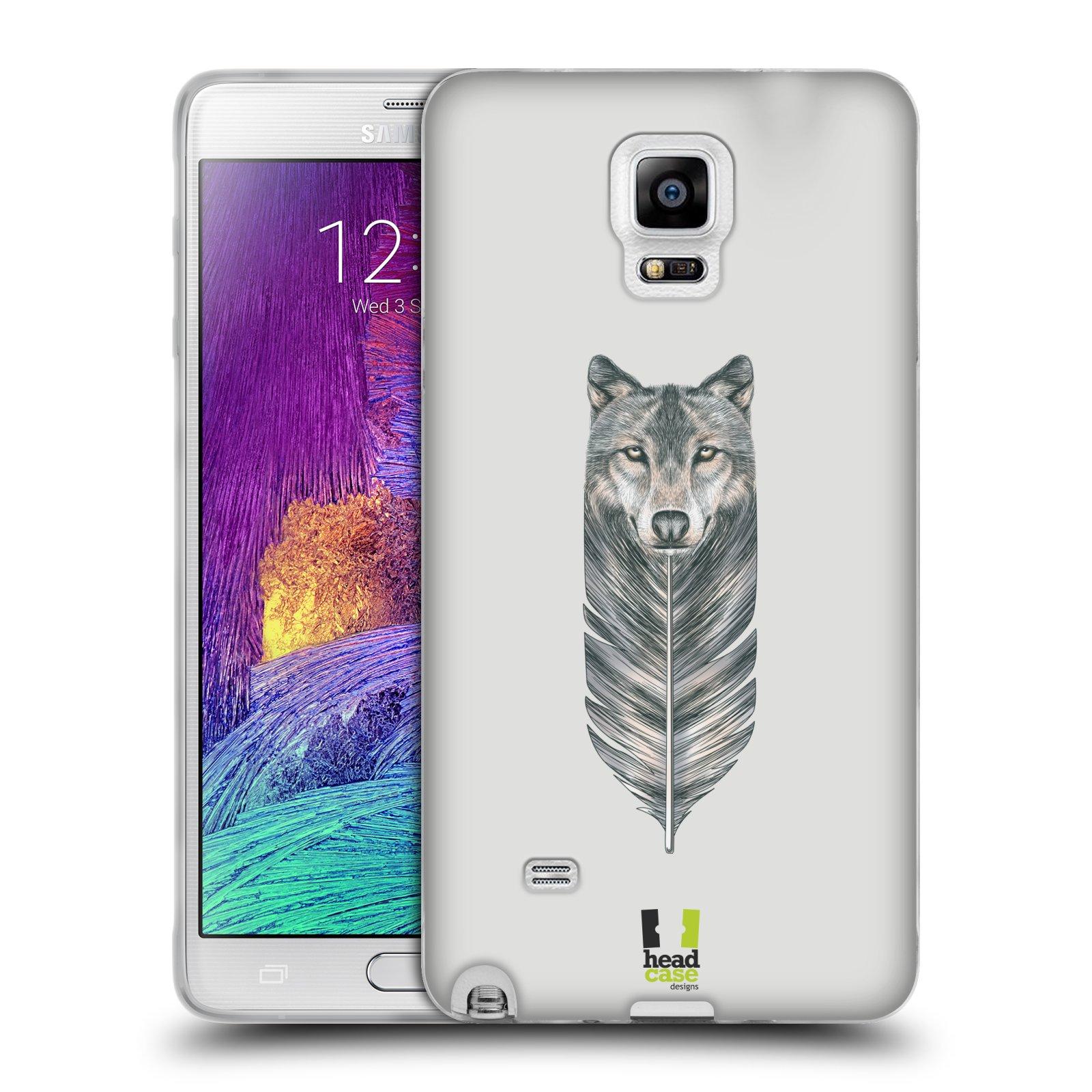 HEAD CASE silikonový obal na mobil Samsung Galaxy Note 4 (N910) vzor zvířecí pírka vlk