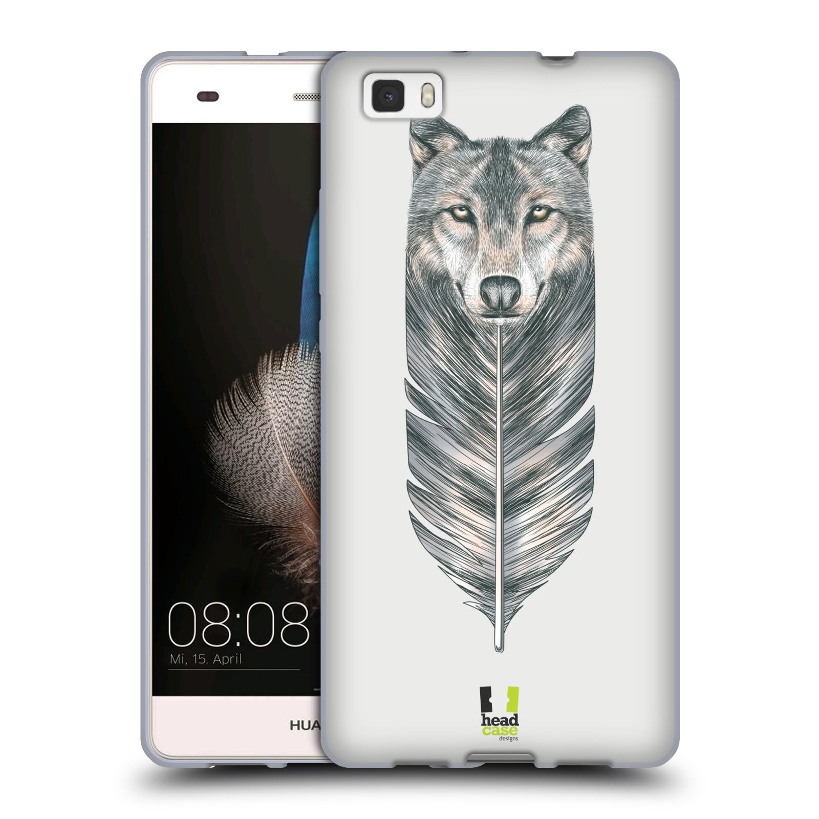 HEAD CASE silikonový obal na mobil HUAWEI P8 LITE vzor zvířecí pírka vlk