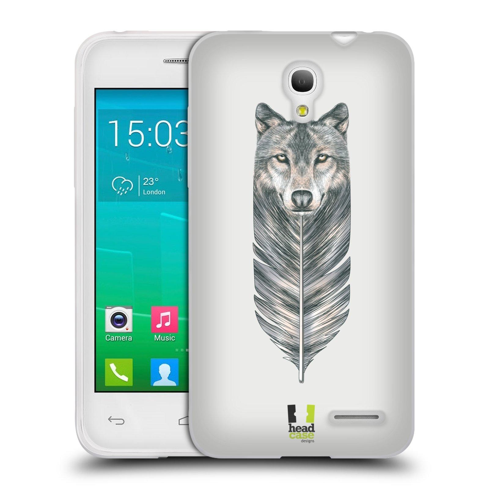 HEAD CASE silikonový obal na mobil Alcatel POP S3 OT-5050Y vzor zvířecí pírka vlk