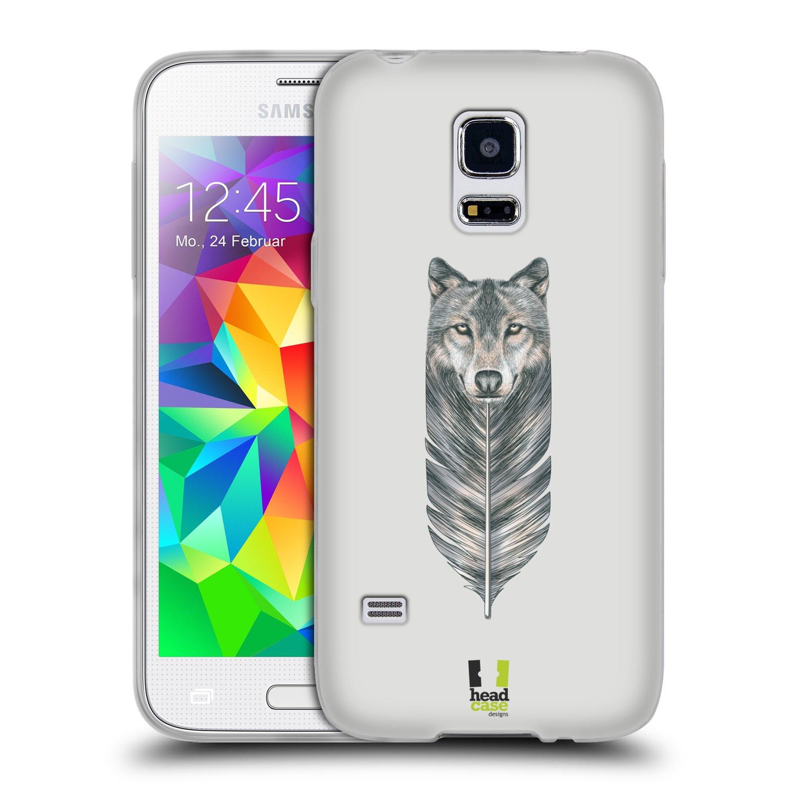 HEAD CASE silikonový obal na mobil Samsung Galaxy S5 MINI vzor zvířecí pírka vlk