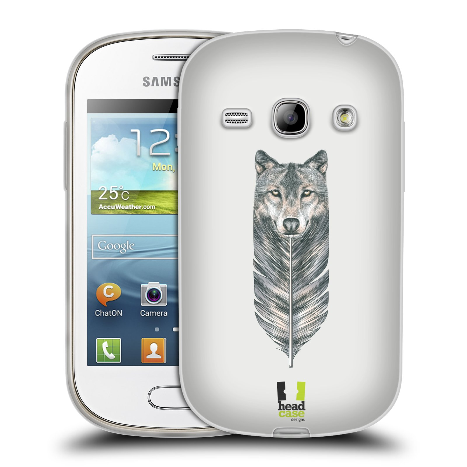 HEAD CASE silikonový obal na mobil Samsung Galaxy FAME vzor zvířecí pírka vlk