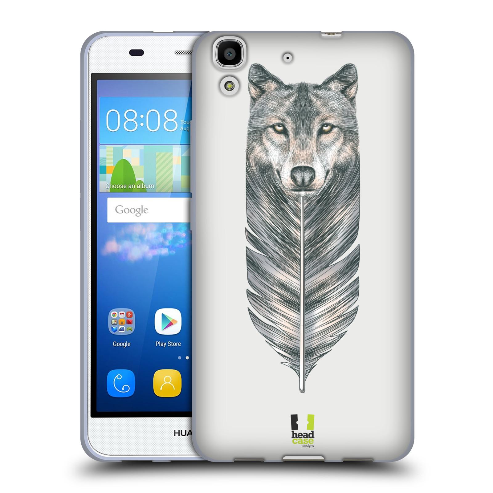 HEAD CASE silikonový obal na mobil HUAWEI Y6 vzor zvířecí pírka vlk