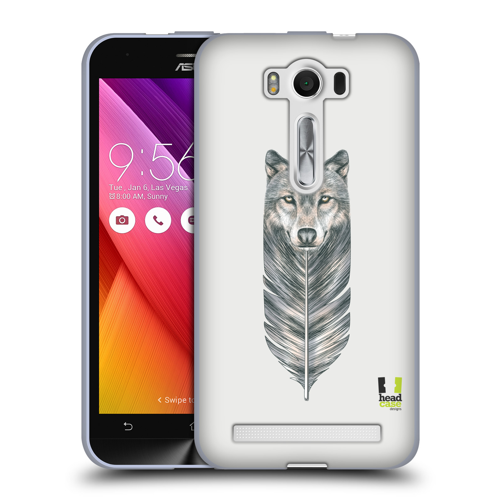 "HEAD CASE silikonový obal na mobil Asus Zenfone 2 LASER (ZE500KL s 5"" displejem) vzor zvířecí pírka vlk"
