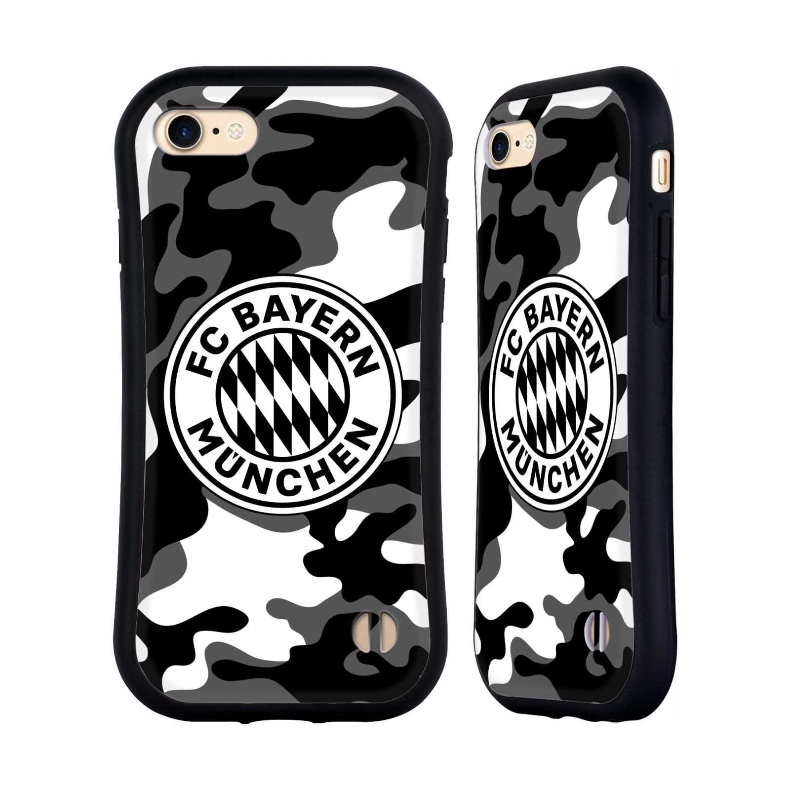 HEAD CASE odolný obal na mobil Apple Iphone 8 Fotbalový klub FC Bayern Mnichov velký znak pozadí černé a bílé kamufláž