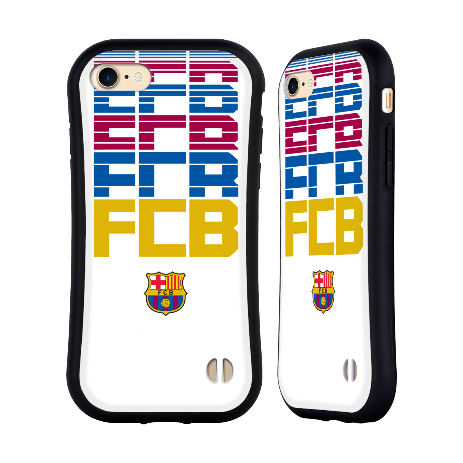 HEAD CASE odolný obal na mobil Apple Iphone 8 Fotbalový klub FC BARCELONA poloprůhledný nadpis malé logo FCB