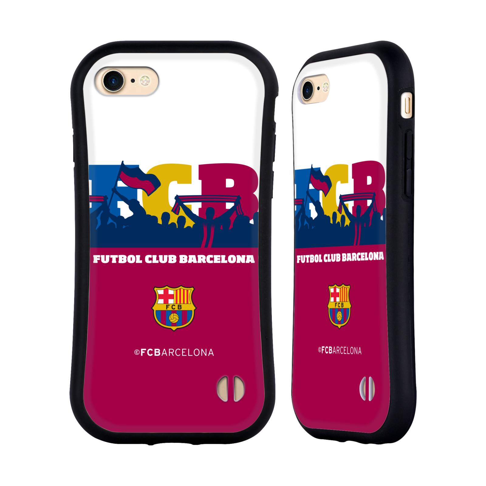 HEAD CASE odolný obal na mobil Apple Iphone 8 Fotbalový klub FC BARCELONA silueta barevná fanoušci průhledný