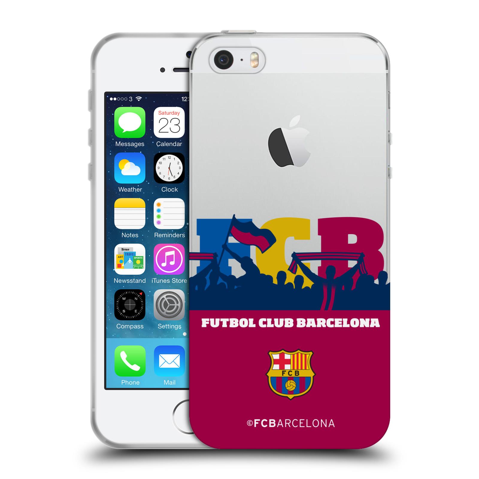 HEAD CASE silikonový obal na mobil Apple Iphone 5 5S Fotbalový klub FC  BARCELONA silueta barevná fanoušci průhledný 0a8854f3910