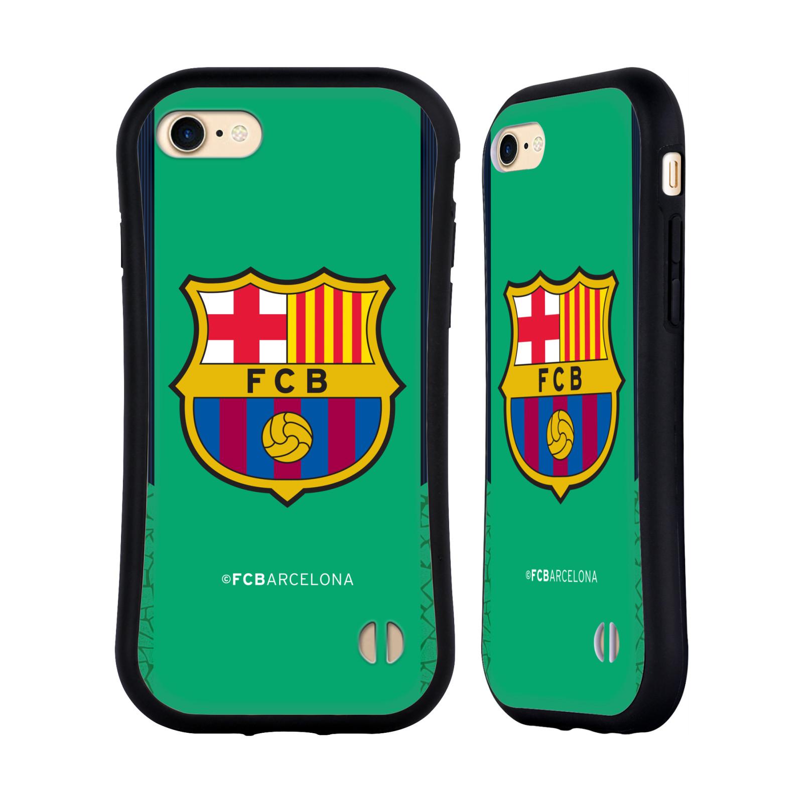 HEAD CASE odolný obal na mobil Apple Iphone 8 Fotbalový klub FC BARCELONA zelené pozadí modré pruhy kraje velký znak