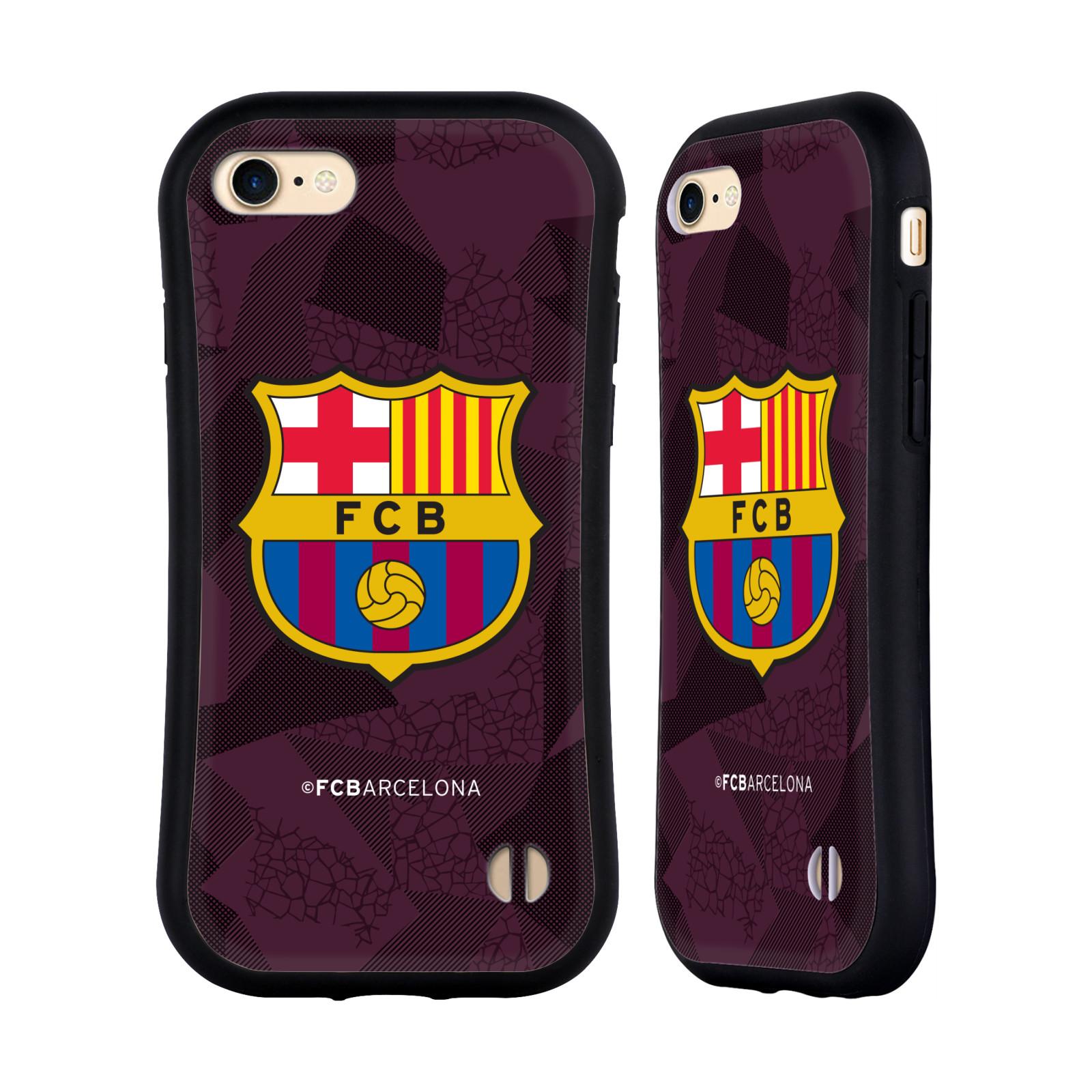 HEAD CASE odolný obal na mobil Apple Iphone 8 Fotbalový klub FC BARCELONA fialové pozadí vzorkované barevný znak