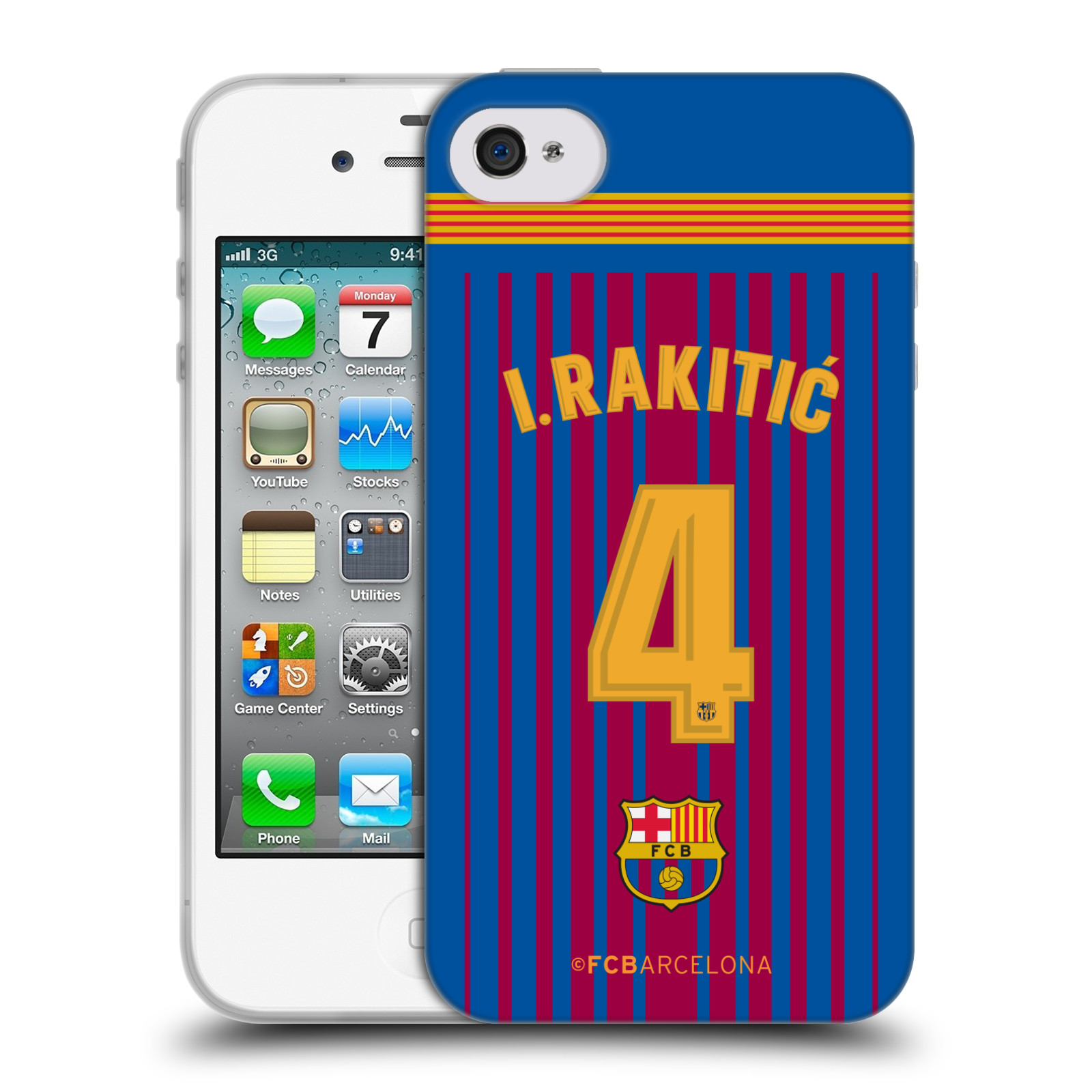 HEAD CASE silikonový obal na mobil Apple Iphone 4 Fotbalový klub FC BARCELONA domací dres I. Rakitic