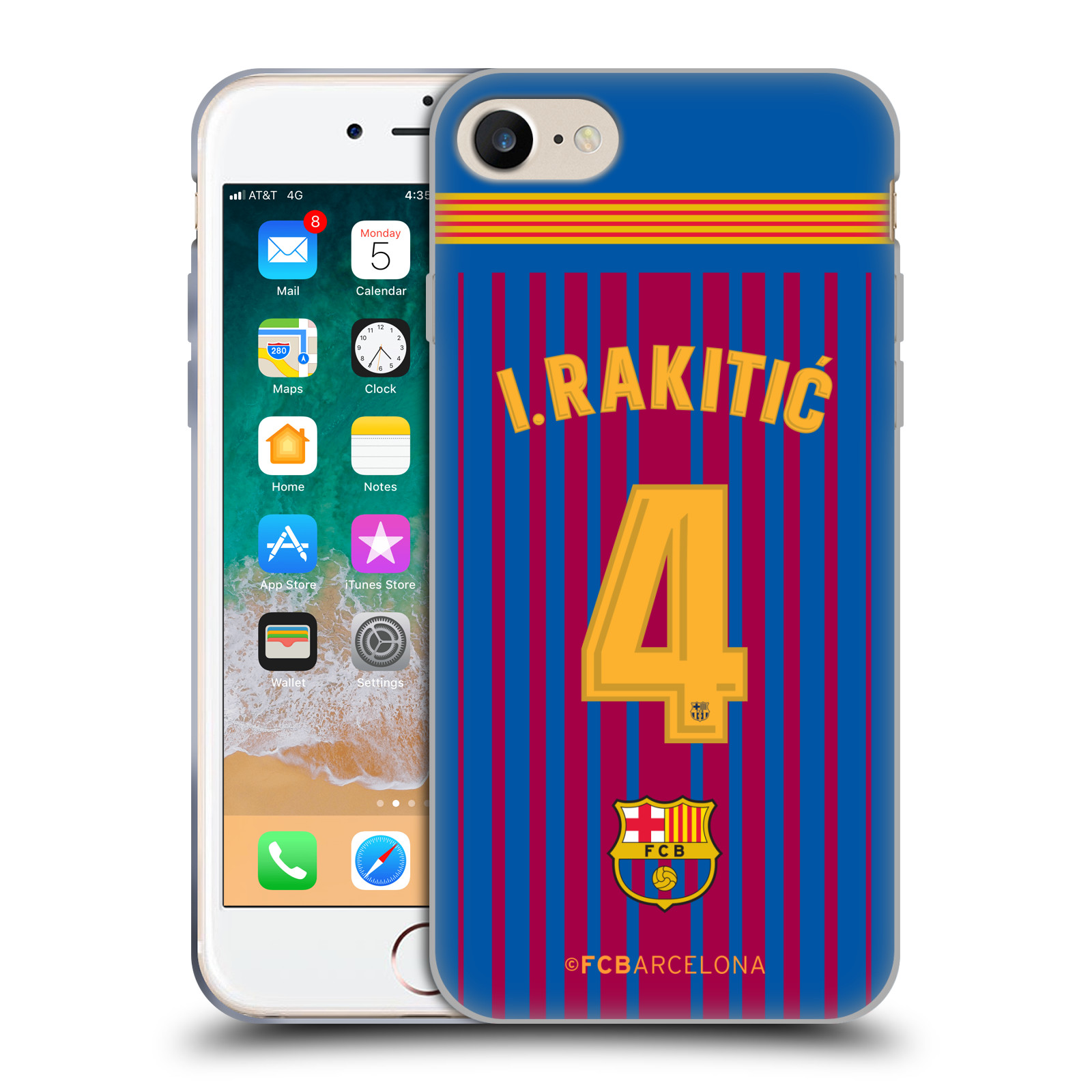 HEAD CASE silikonový obal na mobil Apple Iphone 7 Fotbalový klub FC BARCELONA domací dres I. Rakitic