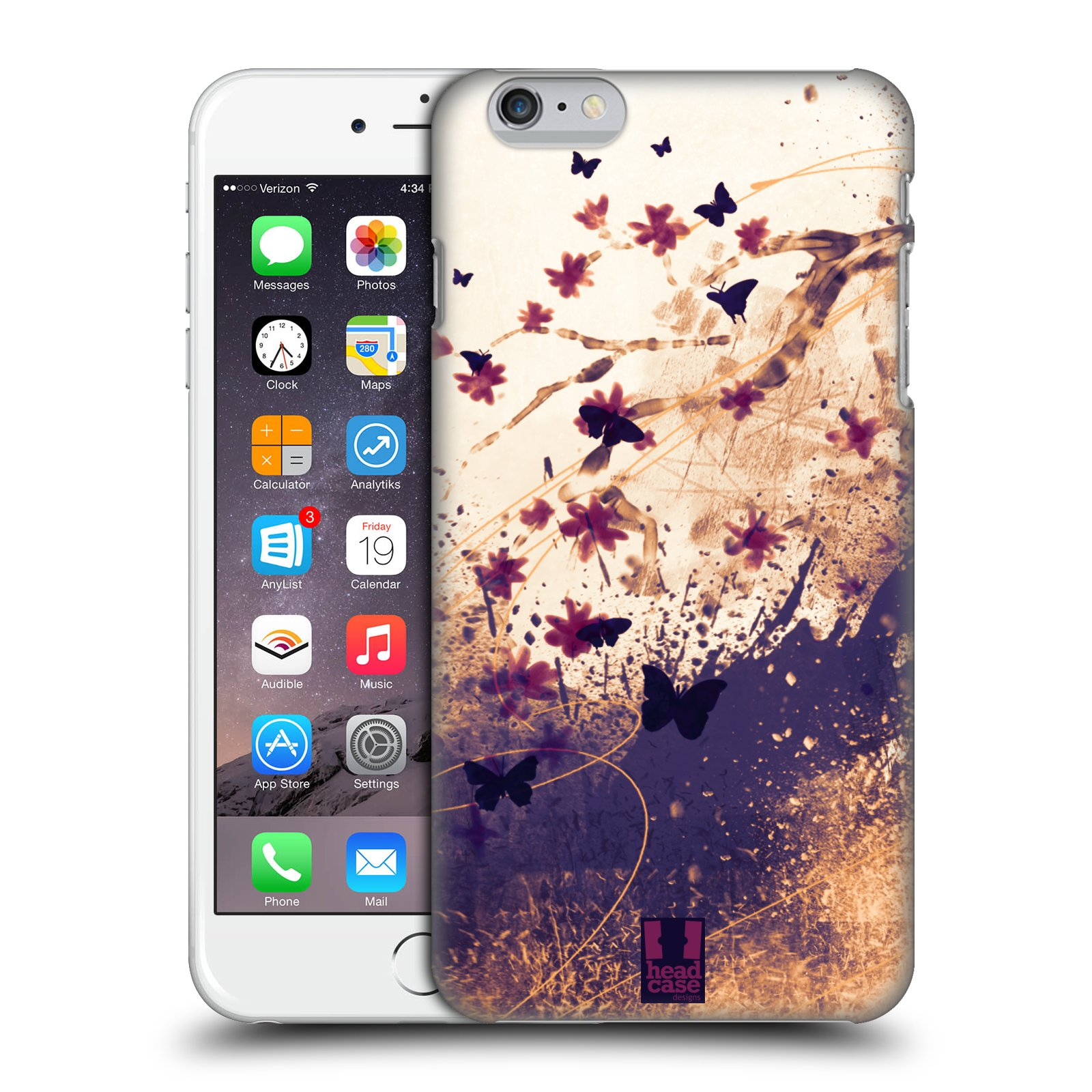 Plastové pouzdro pro mobil Apple Iphone 6 PLUS / 6S PLUS vzor Kreslené barevné květiny KVĚTY A MOTÝLCI