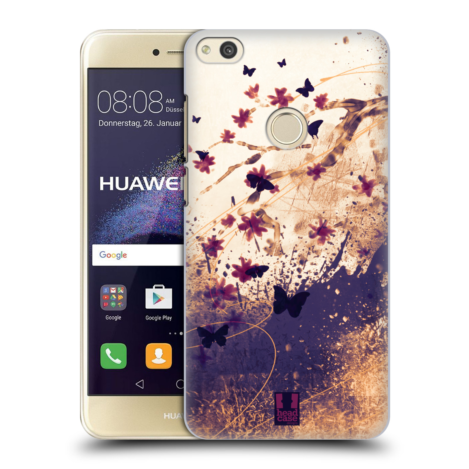 HEAD CASE silikonový obal na mobil Huawei P8 LITE 2017 vzor Kreslené barevné květiny KVĚTY A MOTÝLCI