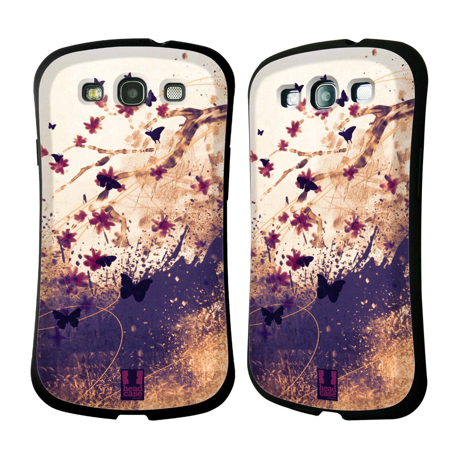 HEAD CASE silikon/plast odolný obal na mobil Samsung Galaxy S3 vzor Kreslené barevné květiny KVĚTY A MOTÝLCI