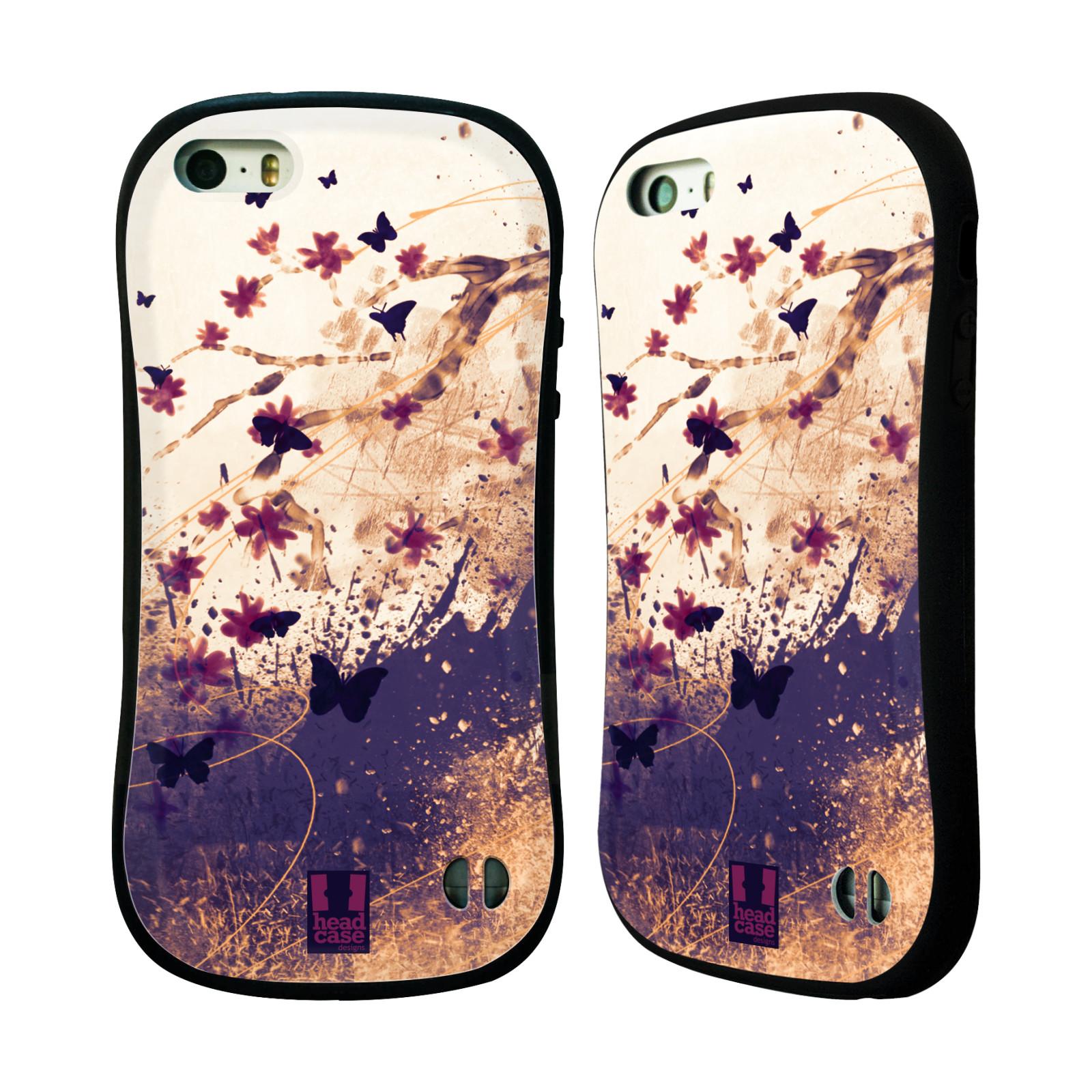 HEAD CASE silikon/plast odolný obal na mobil Apple Iphone 5/5S vzor Kreslené barevné květiny KVĚTY A MOTÝLCI