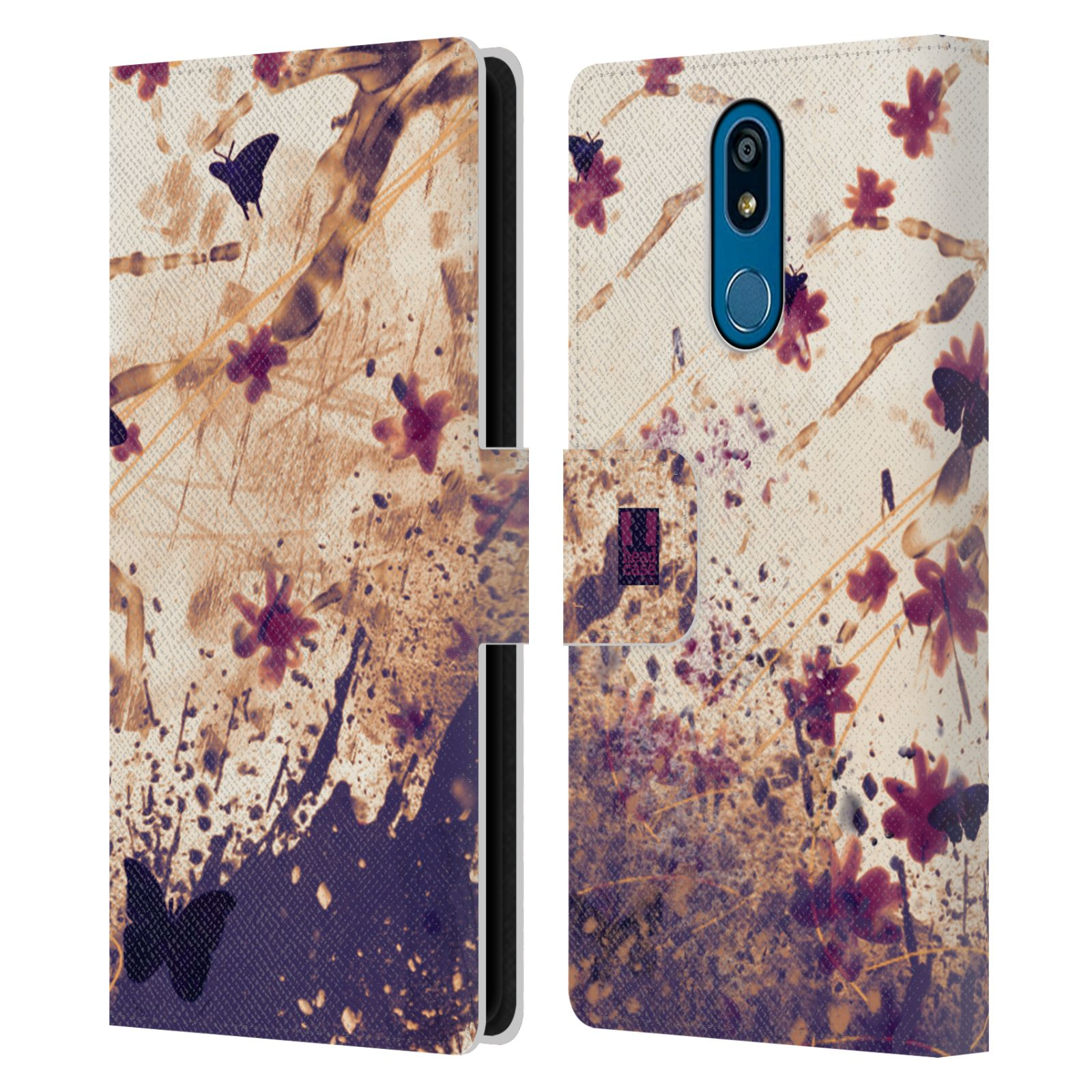 Pouzdro na mobil LG K40 barevná malba květy a motýlci