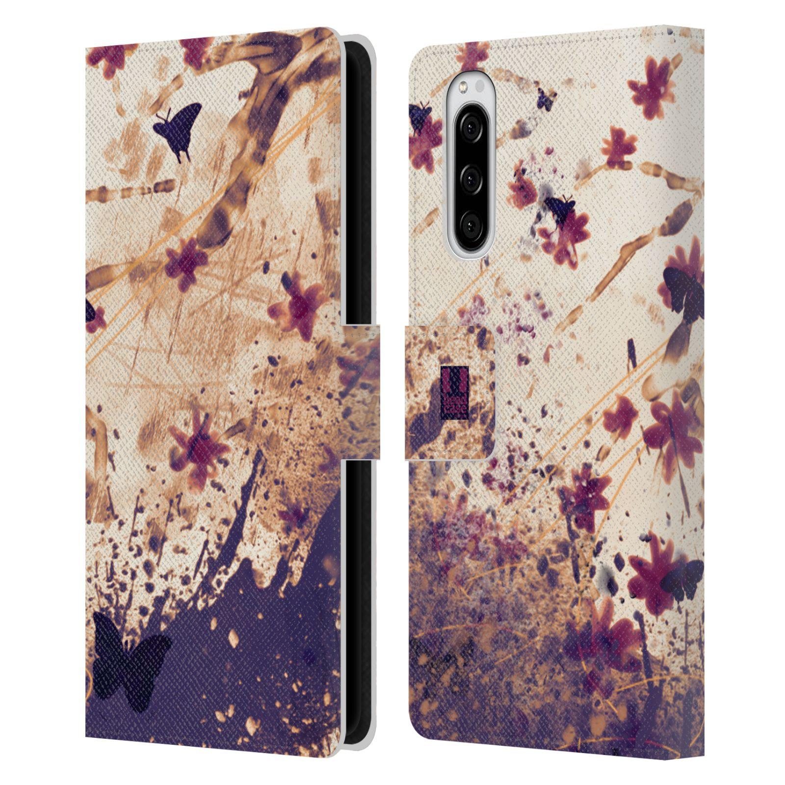 Pouzdro na mobil Sony Xperia 5 barevná malba květy a motýlci