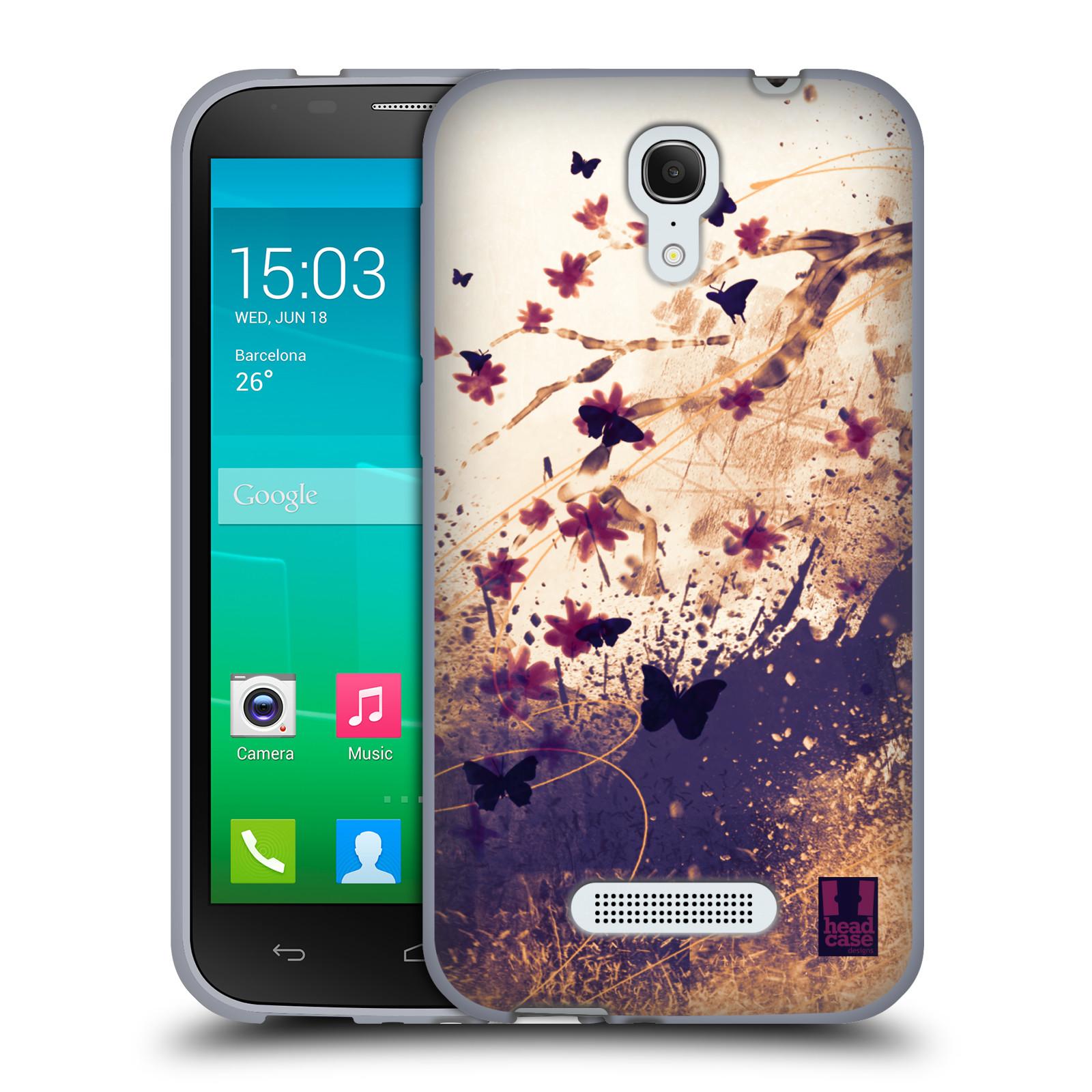HEAD CASE silikonový obal na mobil Alcatel POP S7 vzor Kreslené barevné květiny KVĚTY A MOTÝLCI
