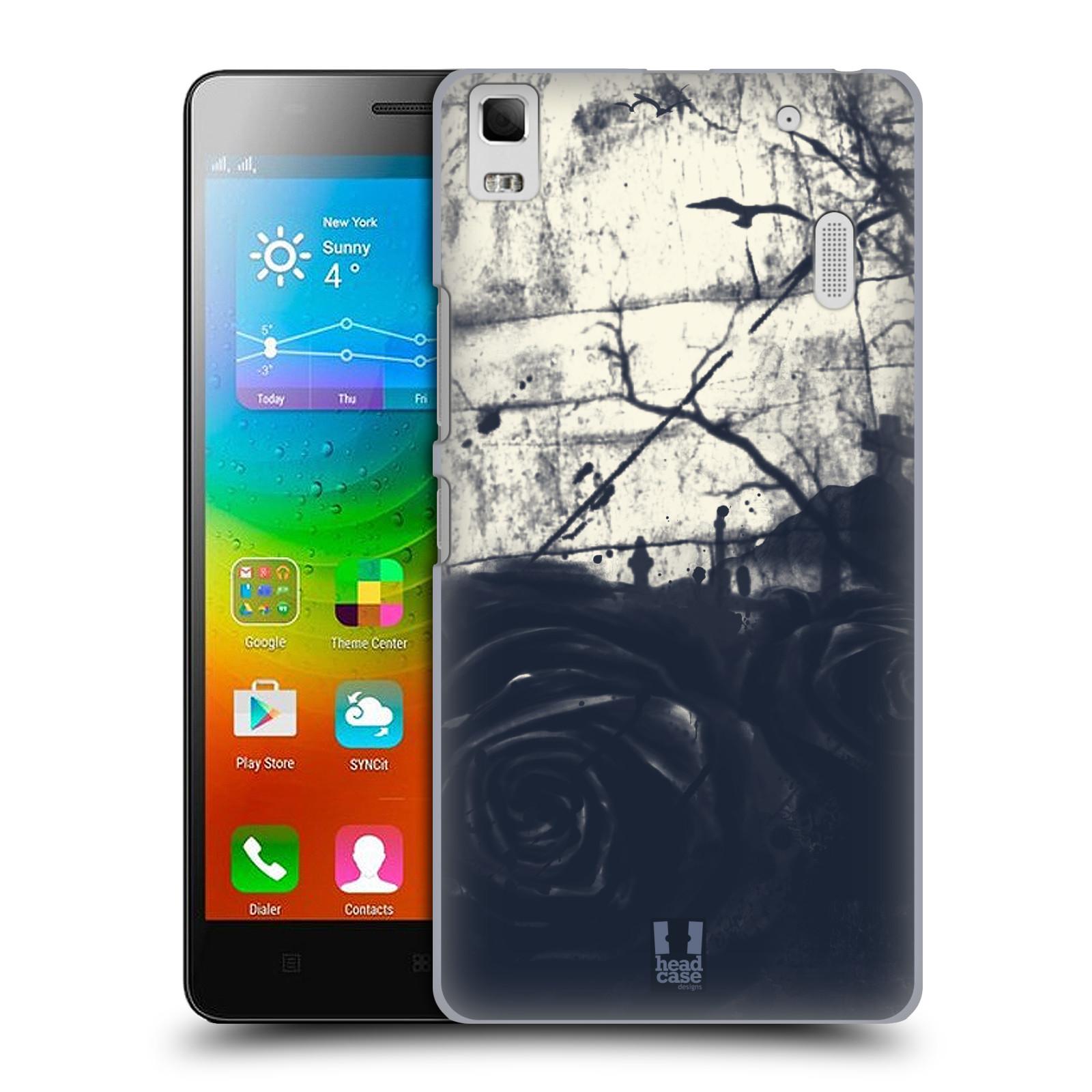 HEAD CASE pevný plastový obal na mobil LENOVO A7000 / A7000 DUAL / K3 NOTE vzor Kreslené barevné květiny TEMNÁ RŮŽE