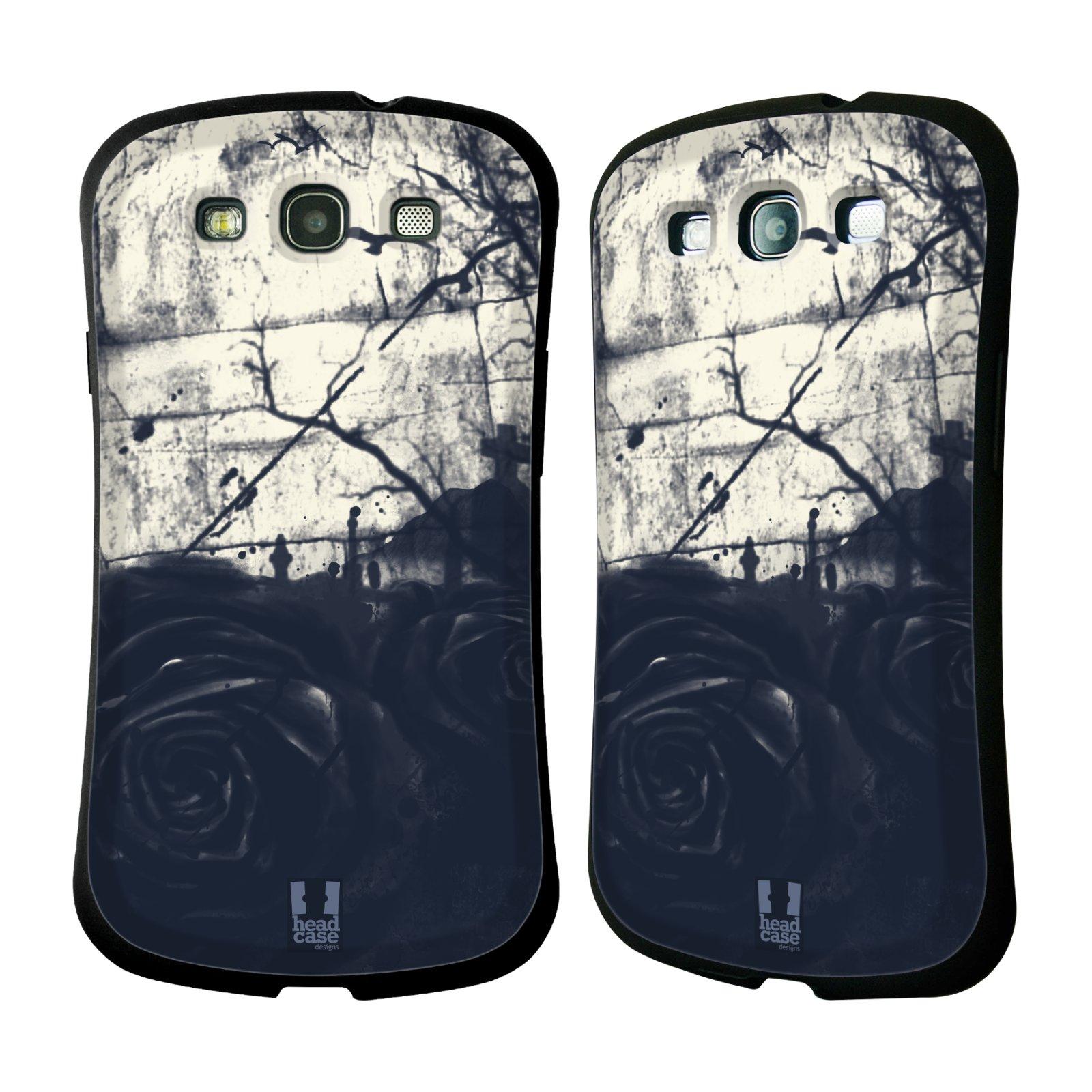 HEAD CASE silikon/plast odolný obal na mobil Samsung Galaxy S3 vzor Kreslené barevné květiny TEMNÁ RŮŽE