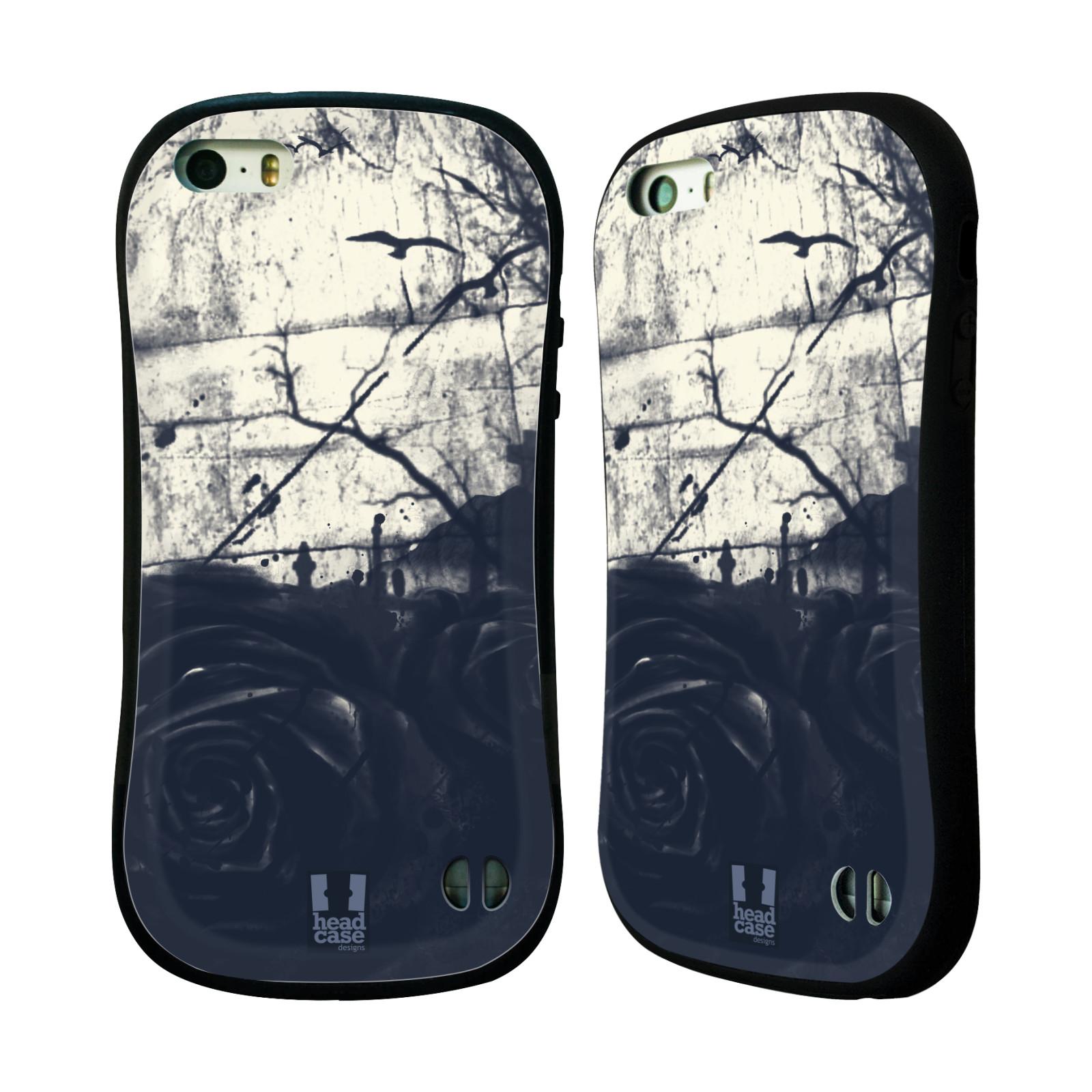 HEAD CASE silikon/plast odolný obal na mobil Apple Iphone 5/5S vzor Kreslené barevné květiny TEMNÁ RŮŽE