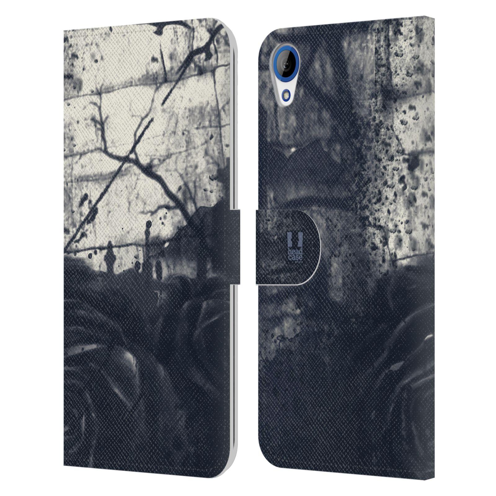 HEAD CASE Flipové pouzdro pro mobil HTC DESIRE 820 barevná malba květy tmavá růže