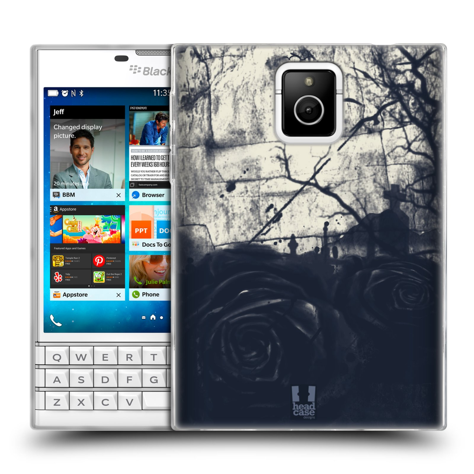 HEAD CASE silikonový obal na mobil Blackberry PASSPORT vzor Kreslené barevné květiny TEMNÁ RŮŽE