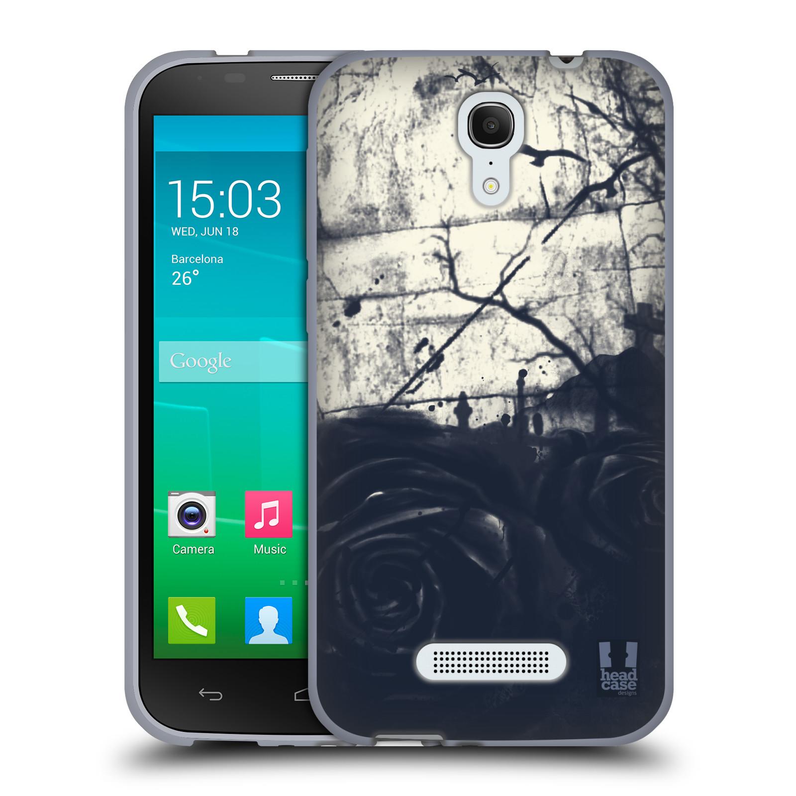 HEAD CASE silikonový obal na mobil Alcatel POP S7 vzor Kreslené barevné květiny TEMNÁ RŮŽE
