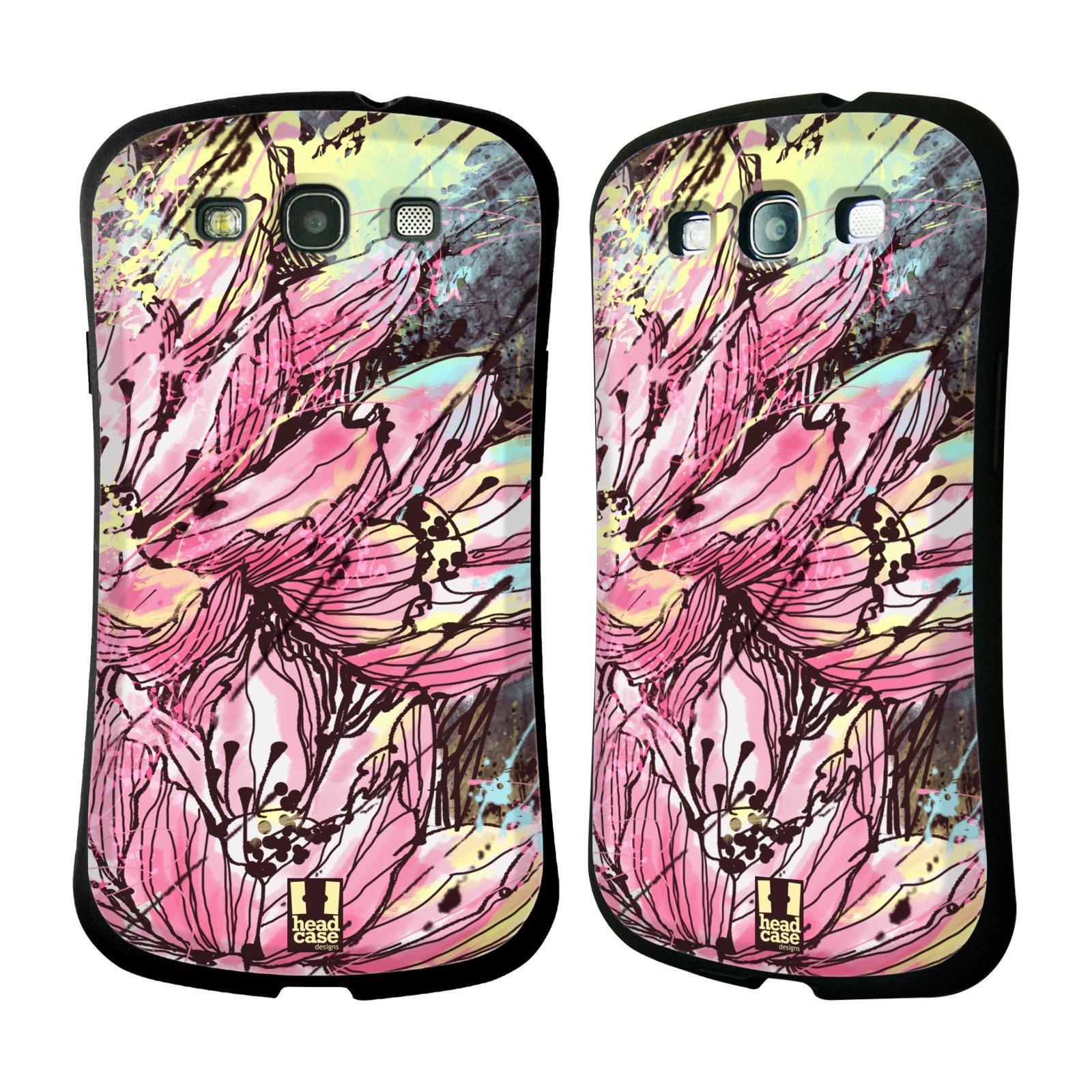 HEAD CASE silikon/plast odolný obal na mobil Samsung Galaxy S3 vzor Kreslené barevné květiny RŮŽOVÁ HANAKOTOBA