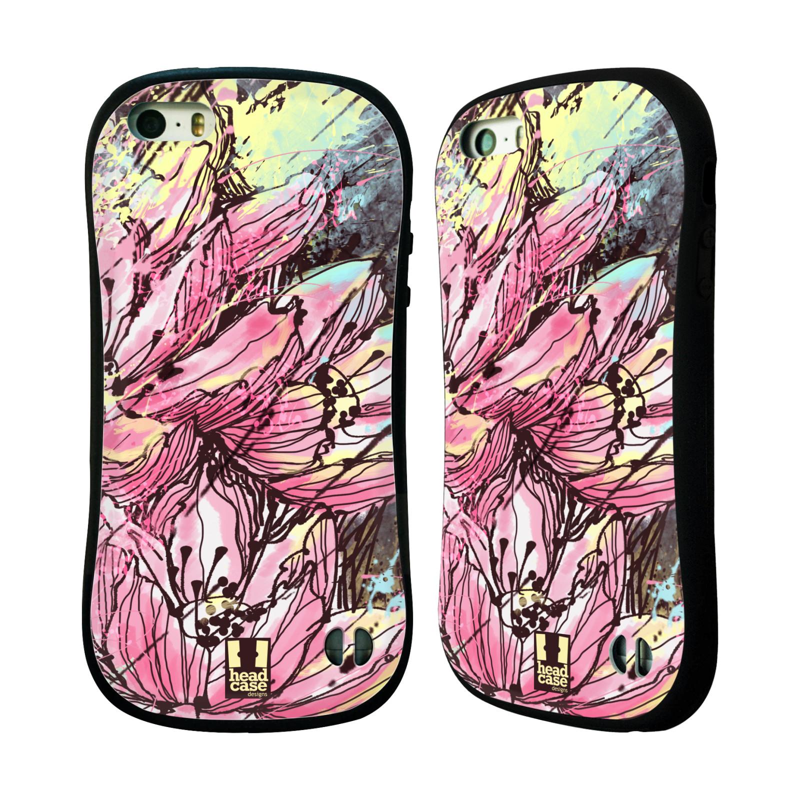 HEAD CASE silikon/plast odolný obal na mobil Apple Iphone 5/5S vzor Kreslené barevné květiny RŮŽOVÁ HANAKOTOBA