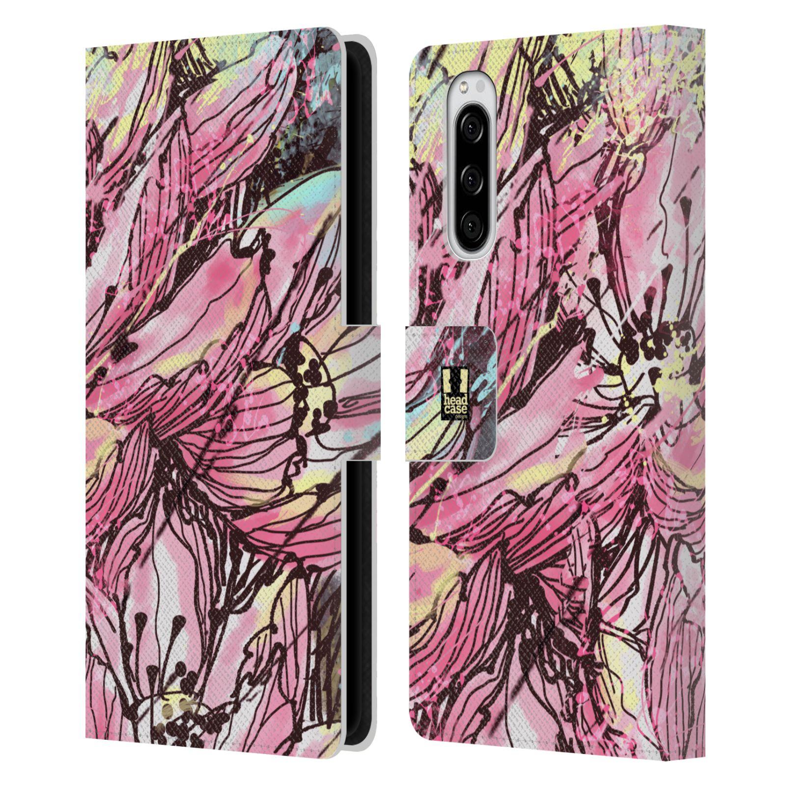 Pouzdro na mobil Sony Xperia 5 barevná malba květy Hanakotoba růžová