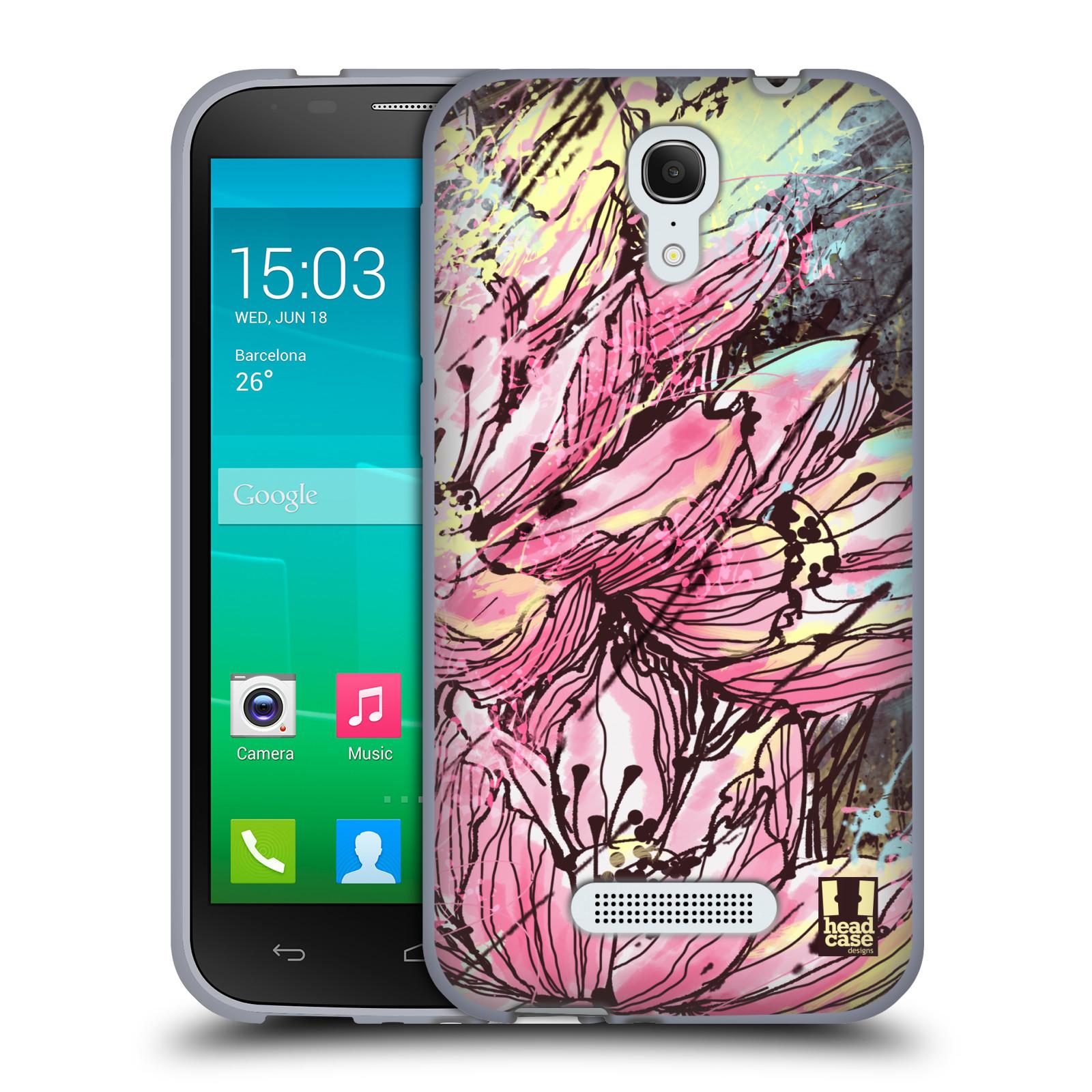 HEAD CASE silikonový obal na mobil Alcatel POP S7 vzor Kreslené barevné květiny RŮŽOVÁ HANAKOTOBA