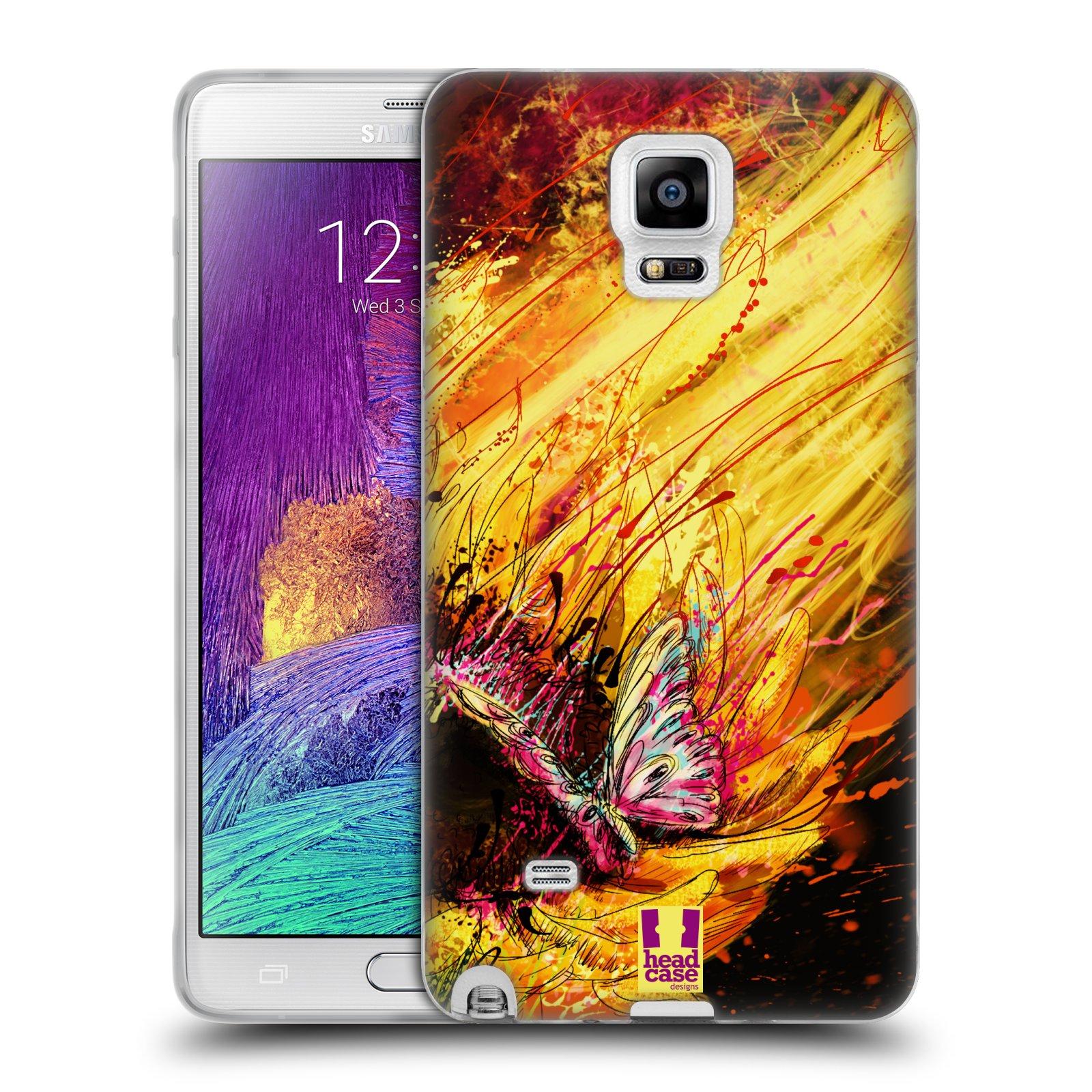 HEAD CASE silikonový obal na mobil Samsung Galaxy Note 4 (N910) vzor Kreslené barevné květiny SLUNEČNICE
