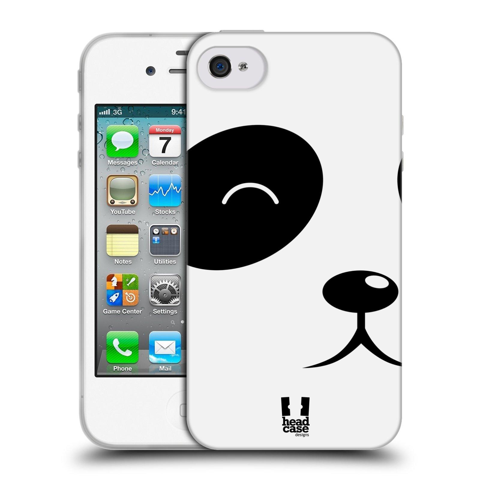 HEAD CASE silikonový obal na mobil Apple Iphone 4/4S vzor Celá tvář zvíře kreslený portrét medvídek panda