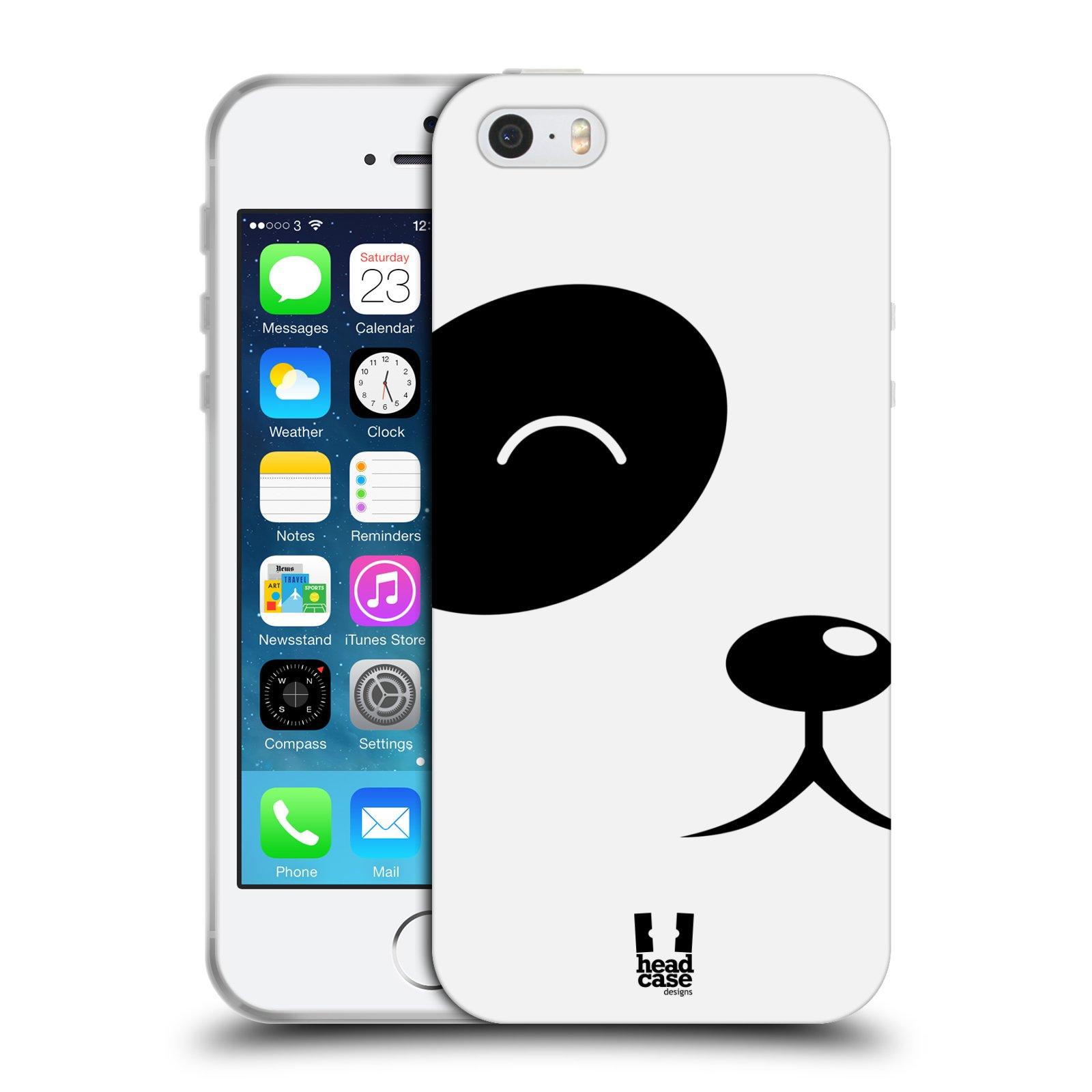 HEAD CASE silikonový obal na mobil Apple Iphone 5/5S vzor Celá tvář zvíře kreslený portrét medvídek panda