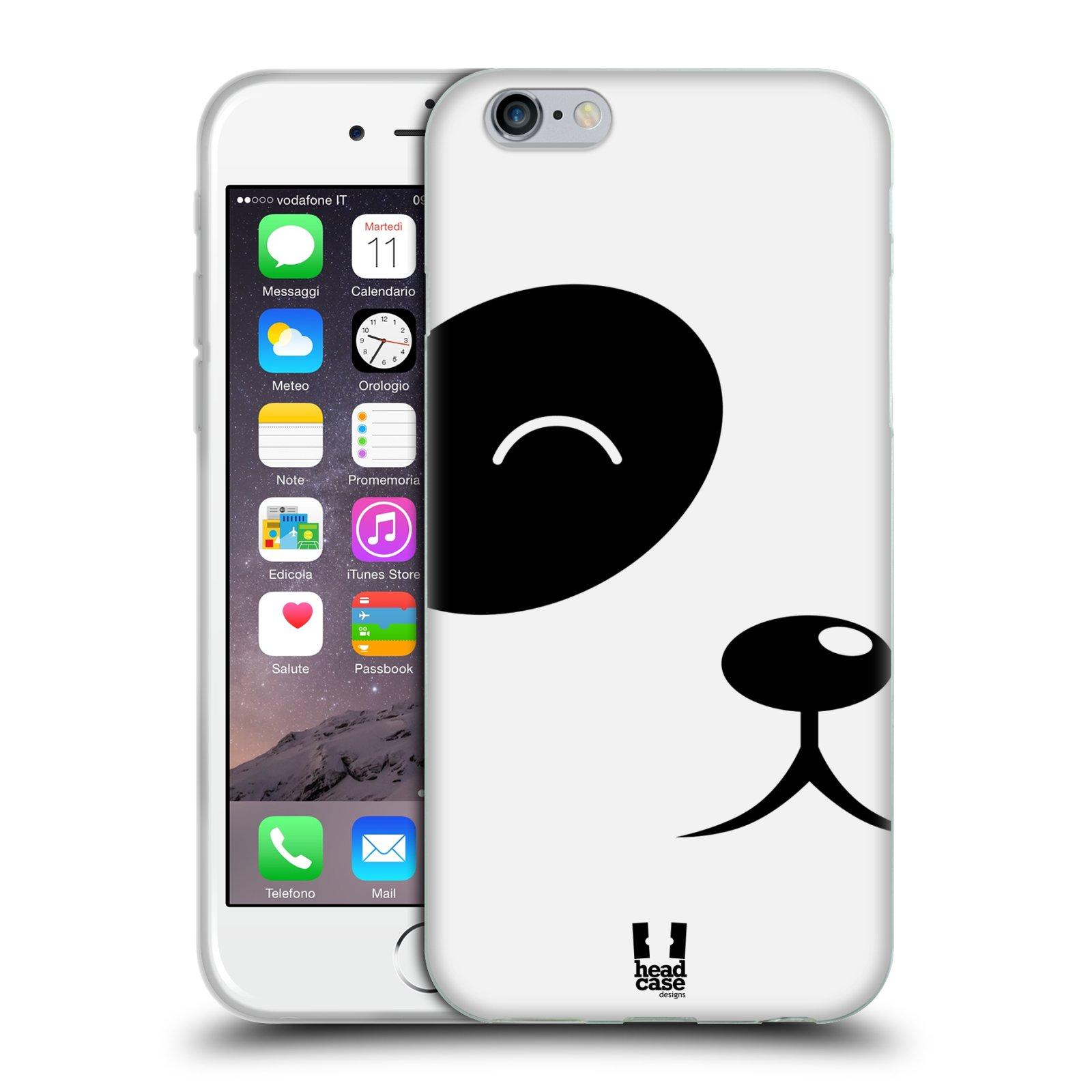 HEAD CASE silikonový obal na mobil Apple Iphone 6/6S vzor Celá tvář zvíře kreslený portrét medvídek panda