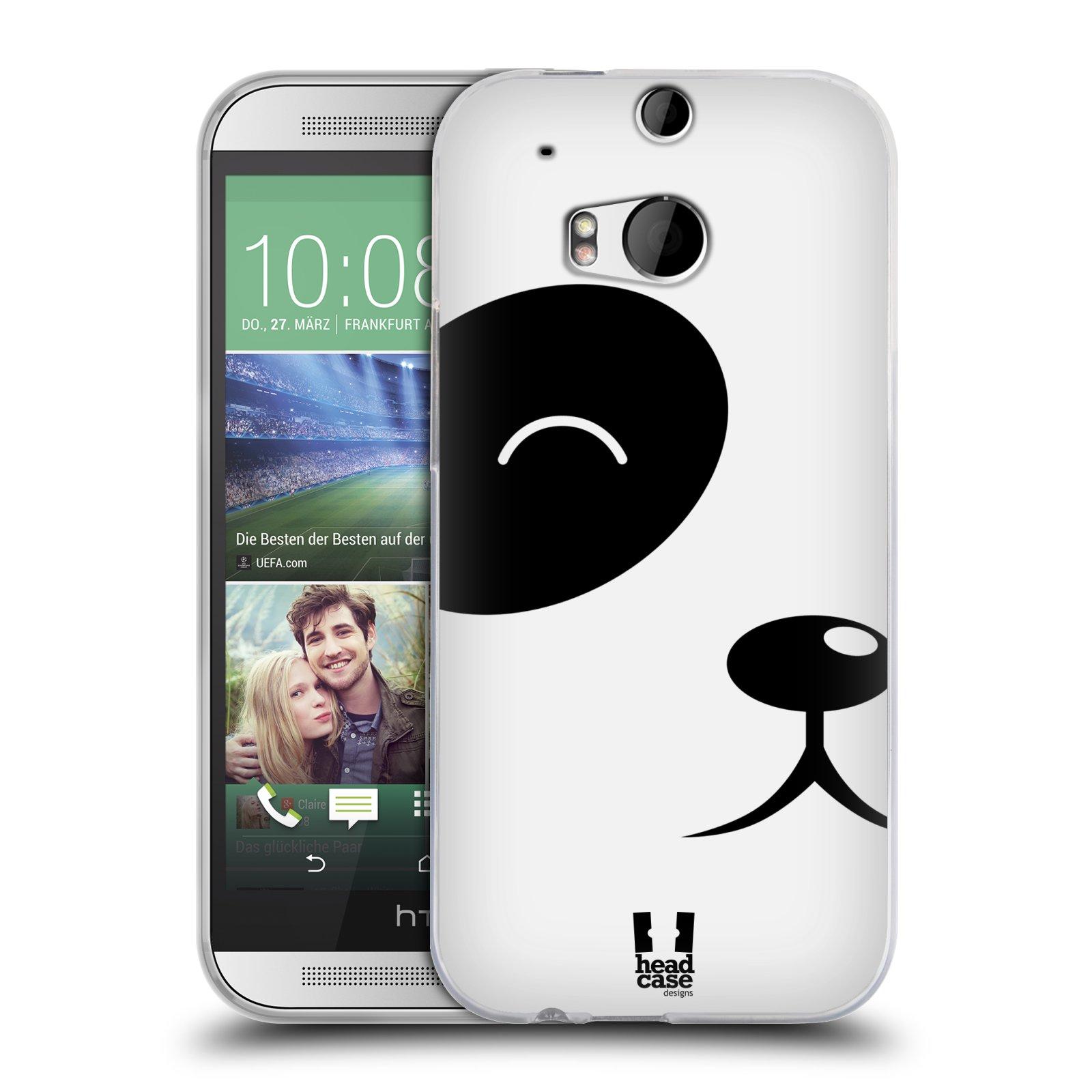 HEAD CASE silikonový obal na mobil HTC ONE (M8) vzor Celá tvář zvíře kreslený portrét medvídek panda